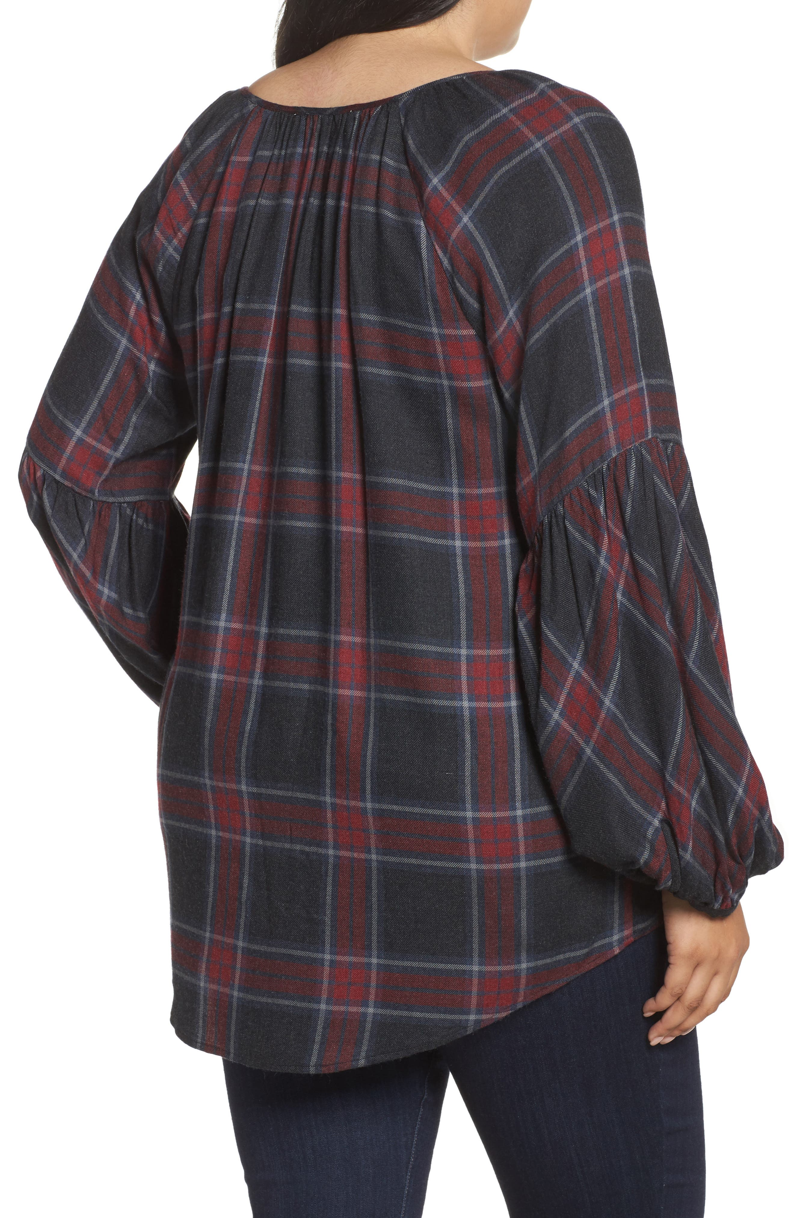 Serenade Tie Neck Plaid Top,                             Alternate thumbnail 2, color,                             Med Heather Grey