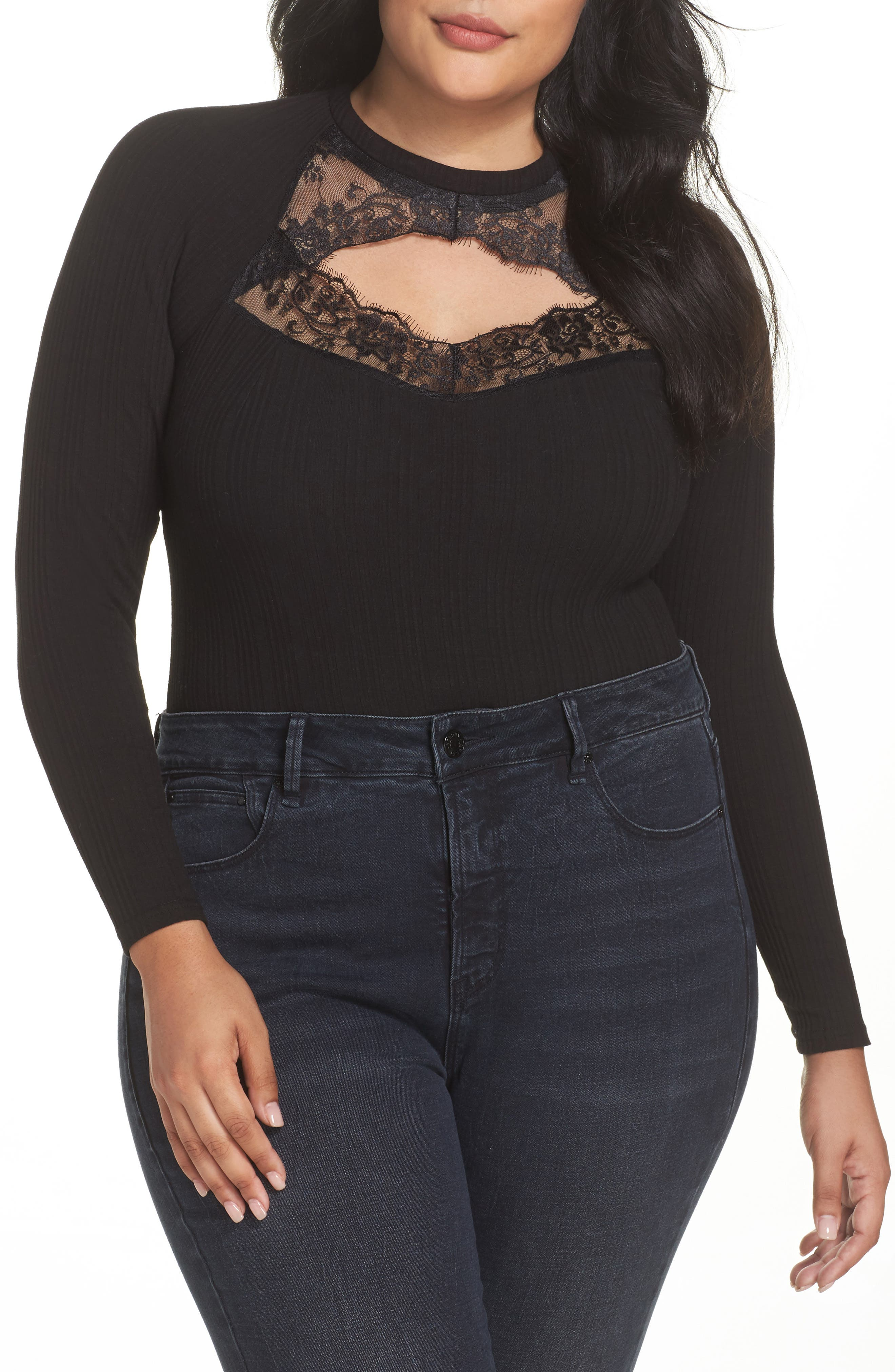 Main Image - LOST INK Ribbed Lace Trim Bodysuit (Plus Size)