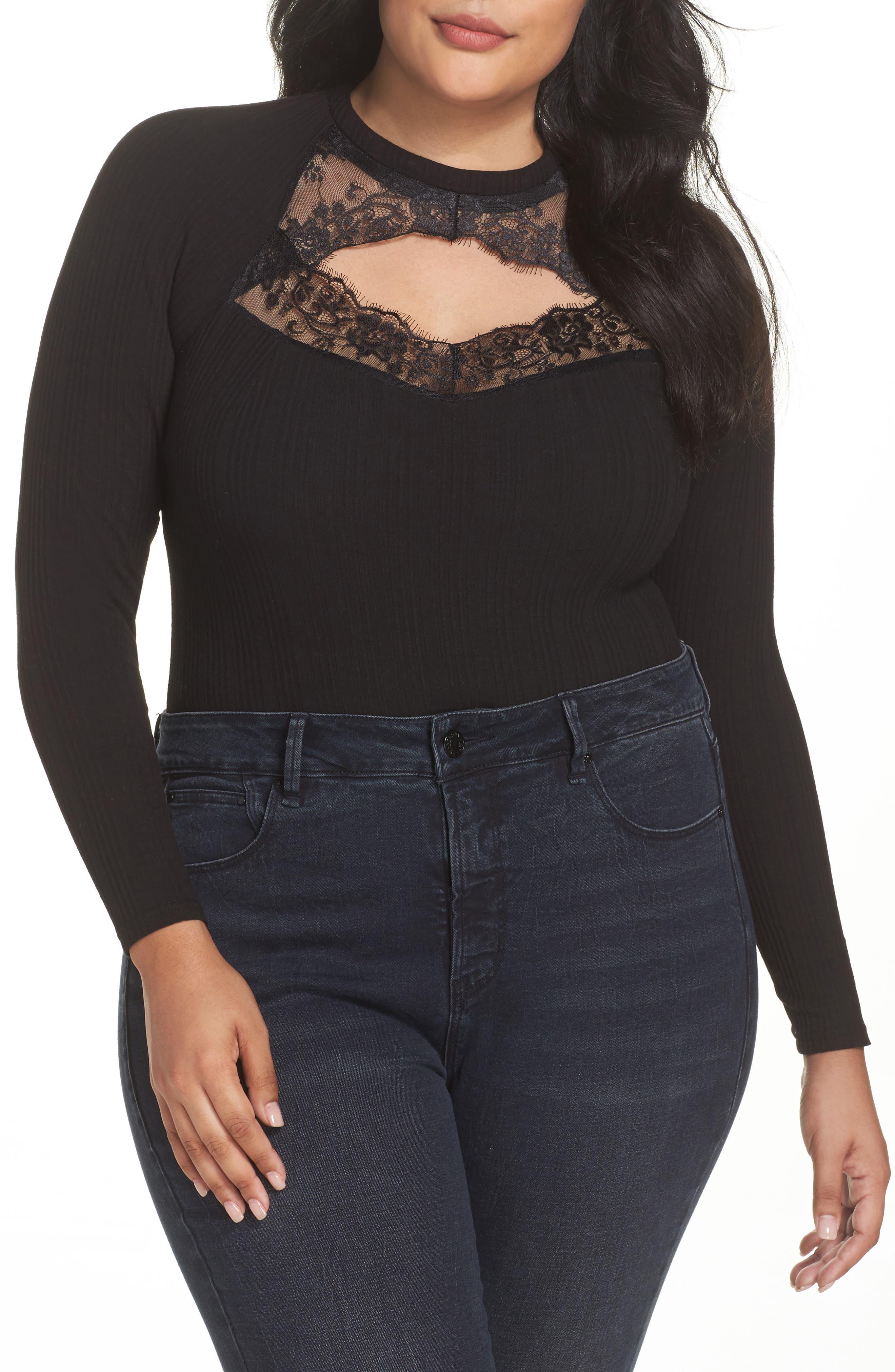 LOST INK Ribbed Lace Trim Bodysuit (Plus Size)