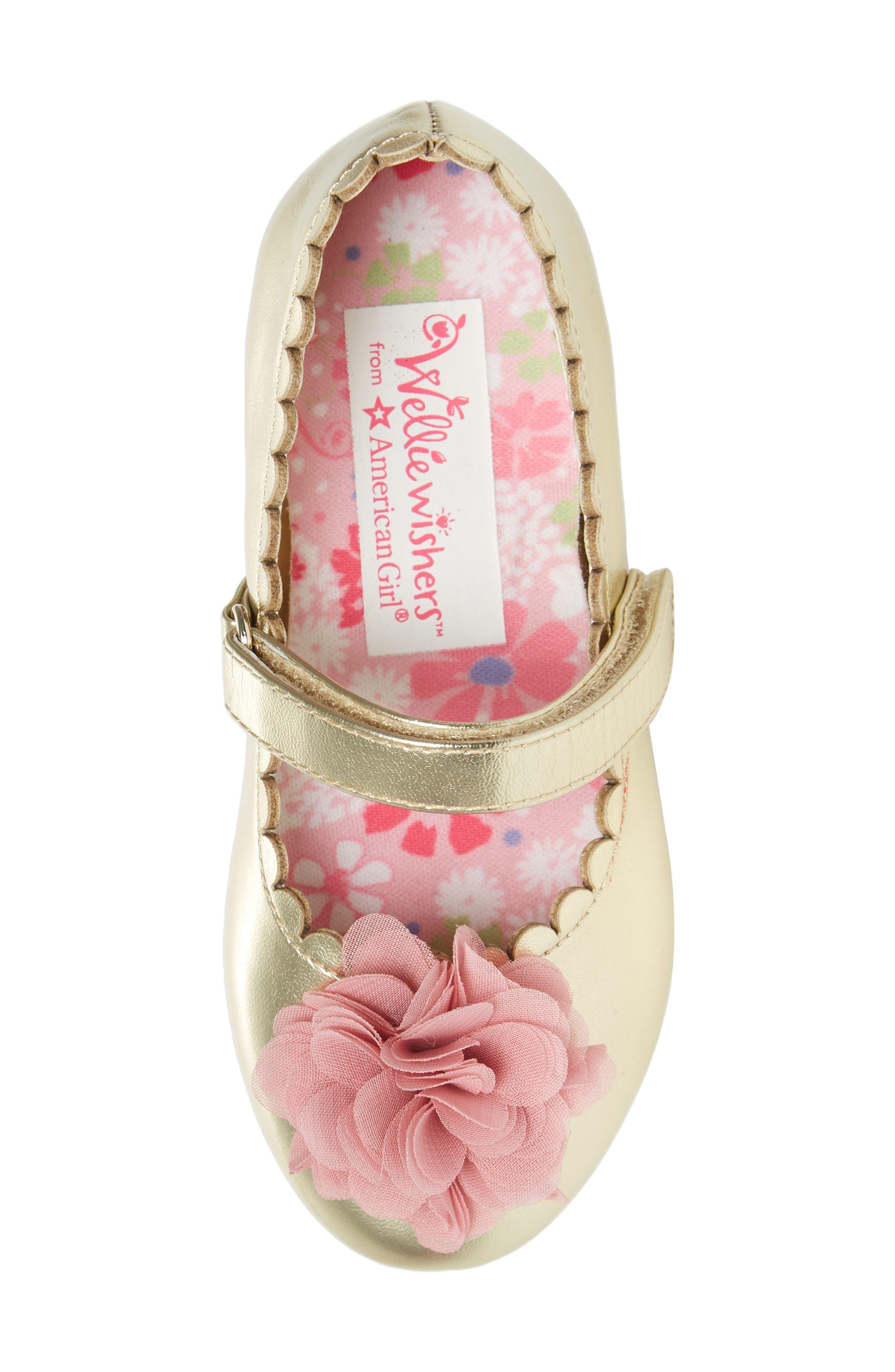 Alternate Image 5  - WellieWishers from American Girl Ashlyn Flower Strap Ballet Flat (Walker & Toddler)