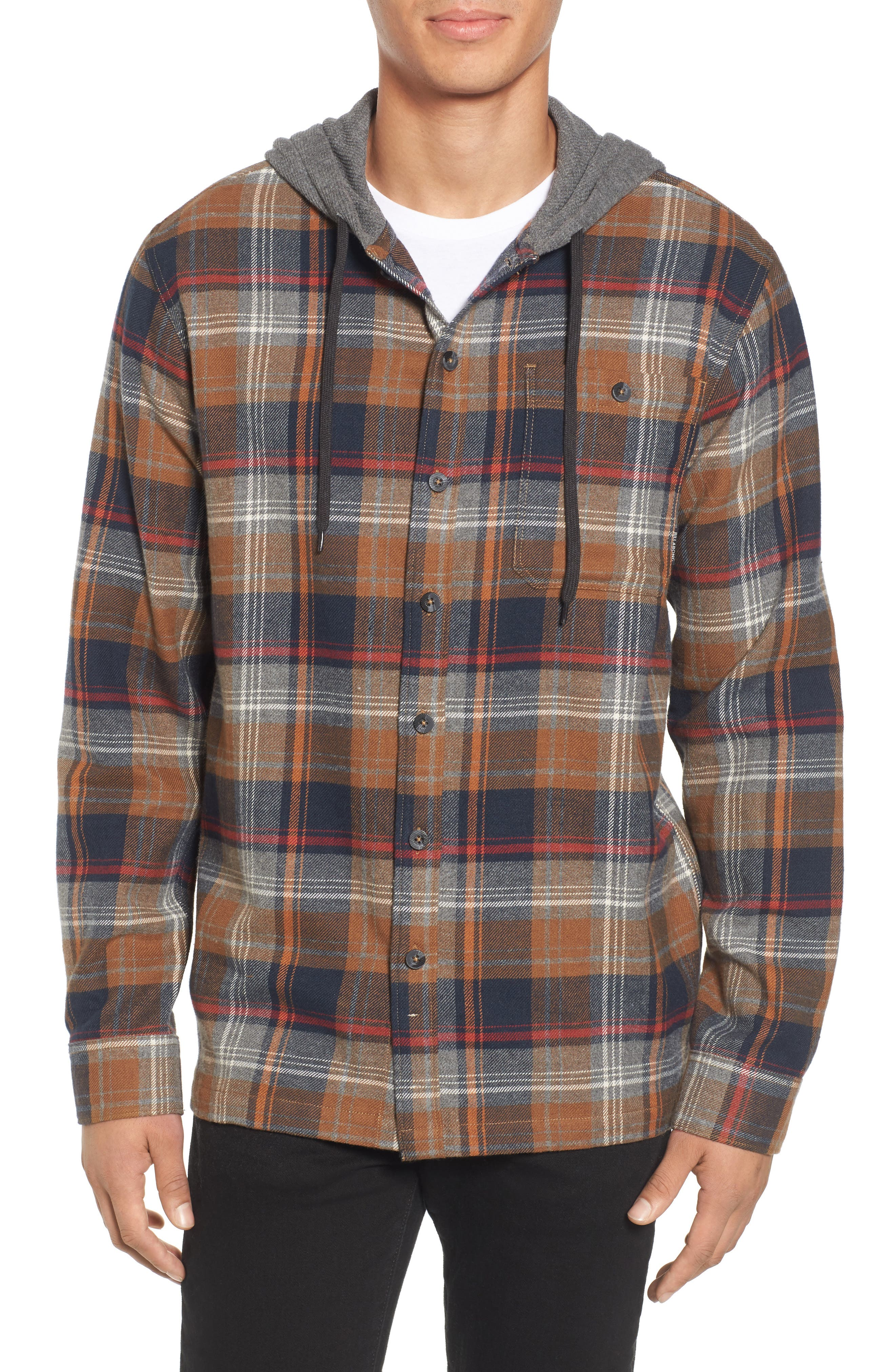 Baja Hooded Flannel Shirt,                         Main,                         color, Tobacco