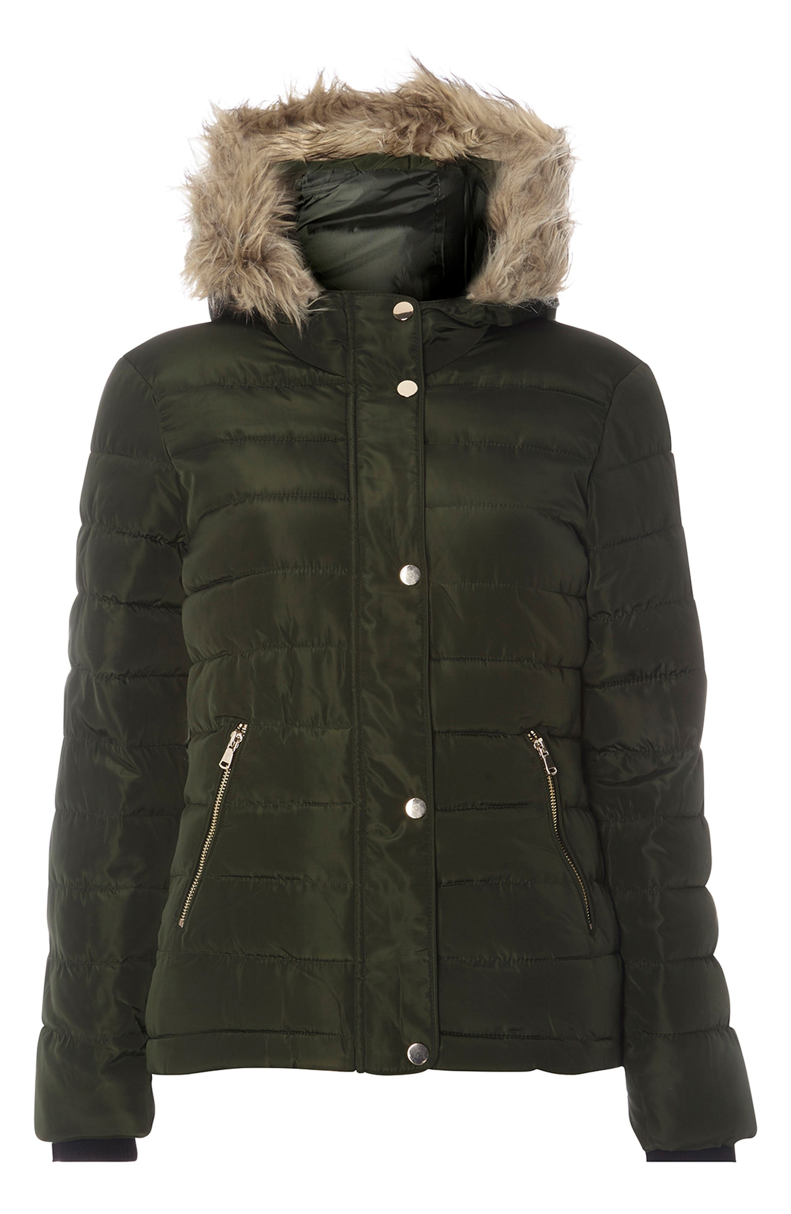 Hooded Faux Fur Puffer Jacket,                             Alternate thumbnail 4, color,                             Green