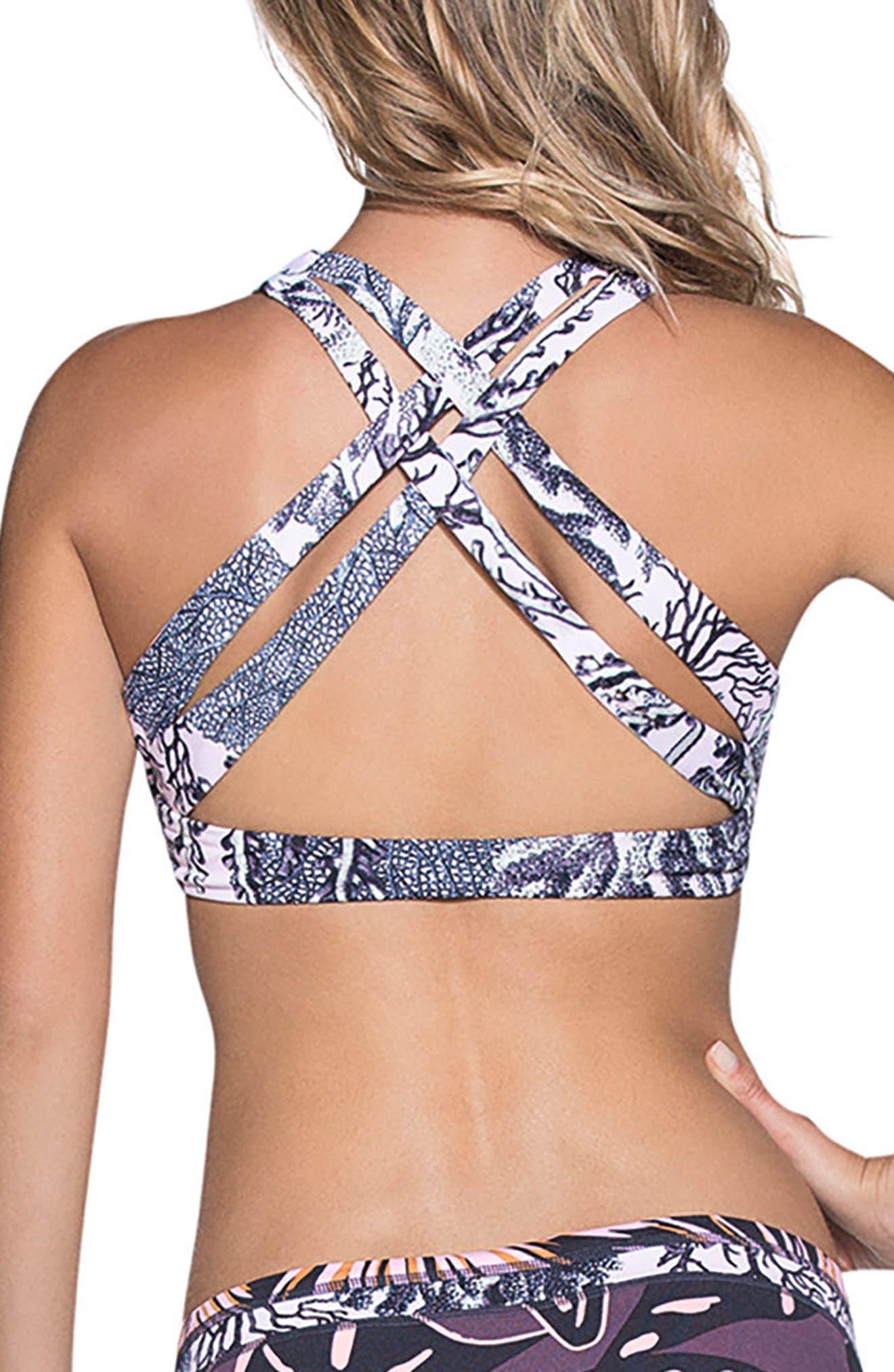 Hot Springs Reversible Bikini Top,                             Alternate thumbnail 2, color,                             Black Multi