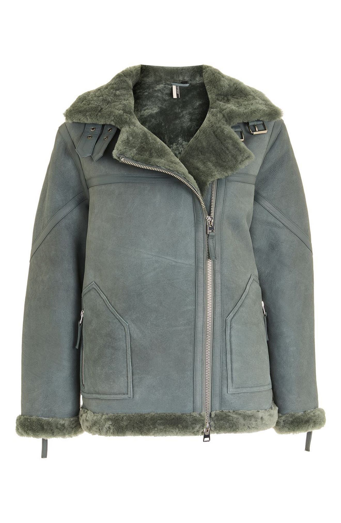 Bailey Genuine Shearling Biker Jacket,                             Alternate thumbnail 5, color,                             Dark Green Multi