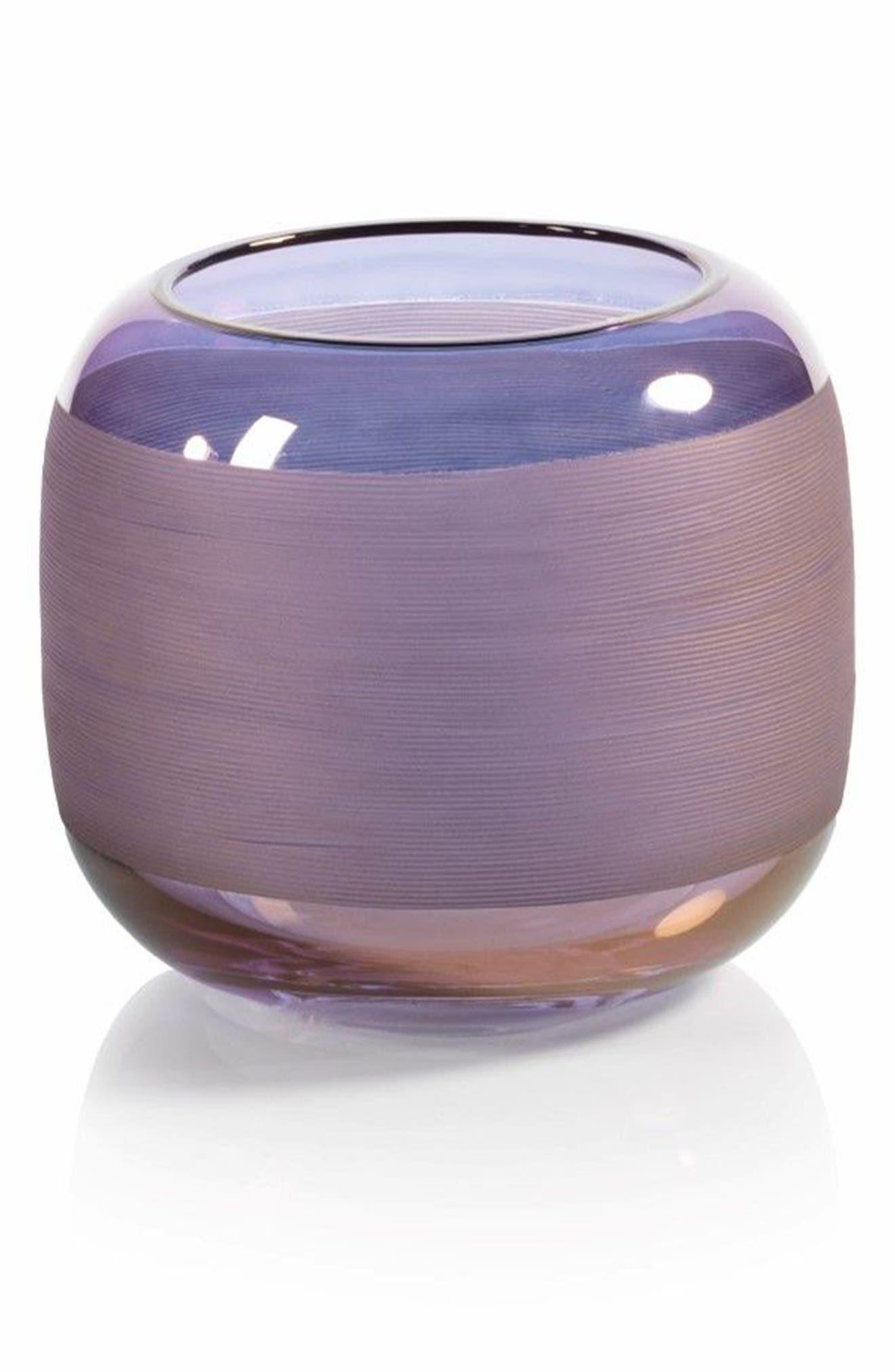 Trezza Glass Vase,                         Main,                         color, Purple/ Blue