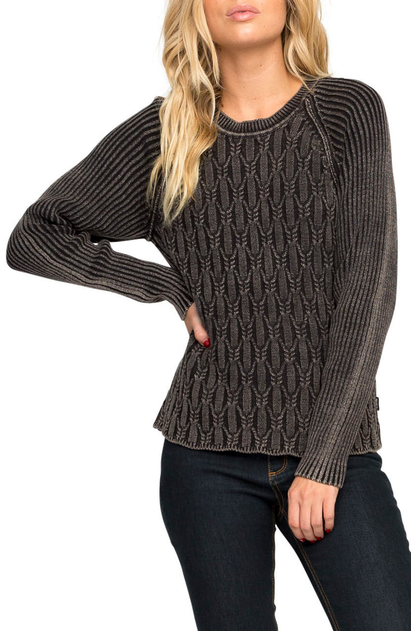Chained Cotton Sweater,                         Main,                         color, Black