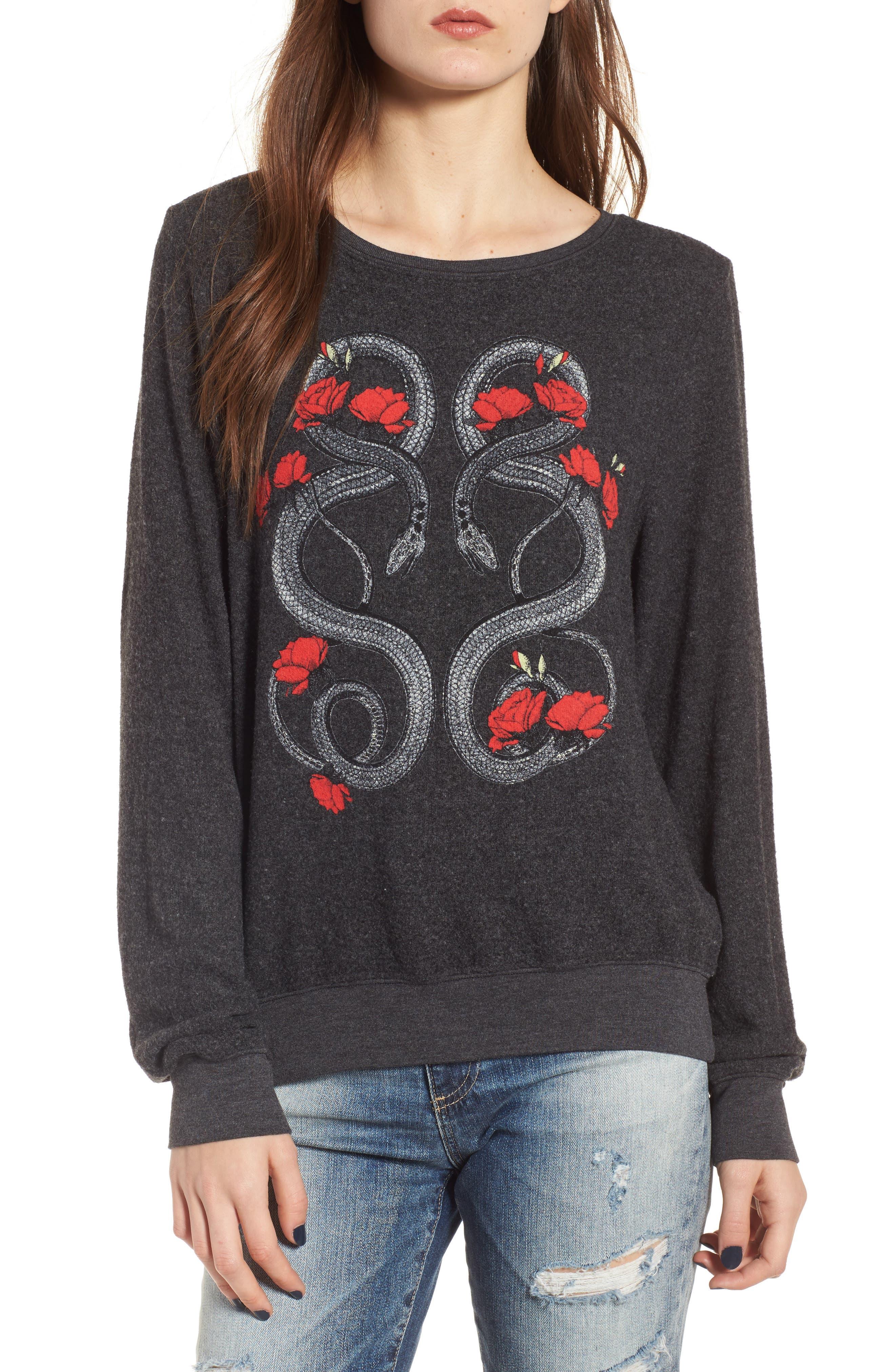 Red Snakes Sweatshirt,                         Main,                         color, Clean Black