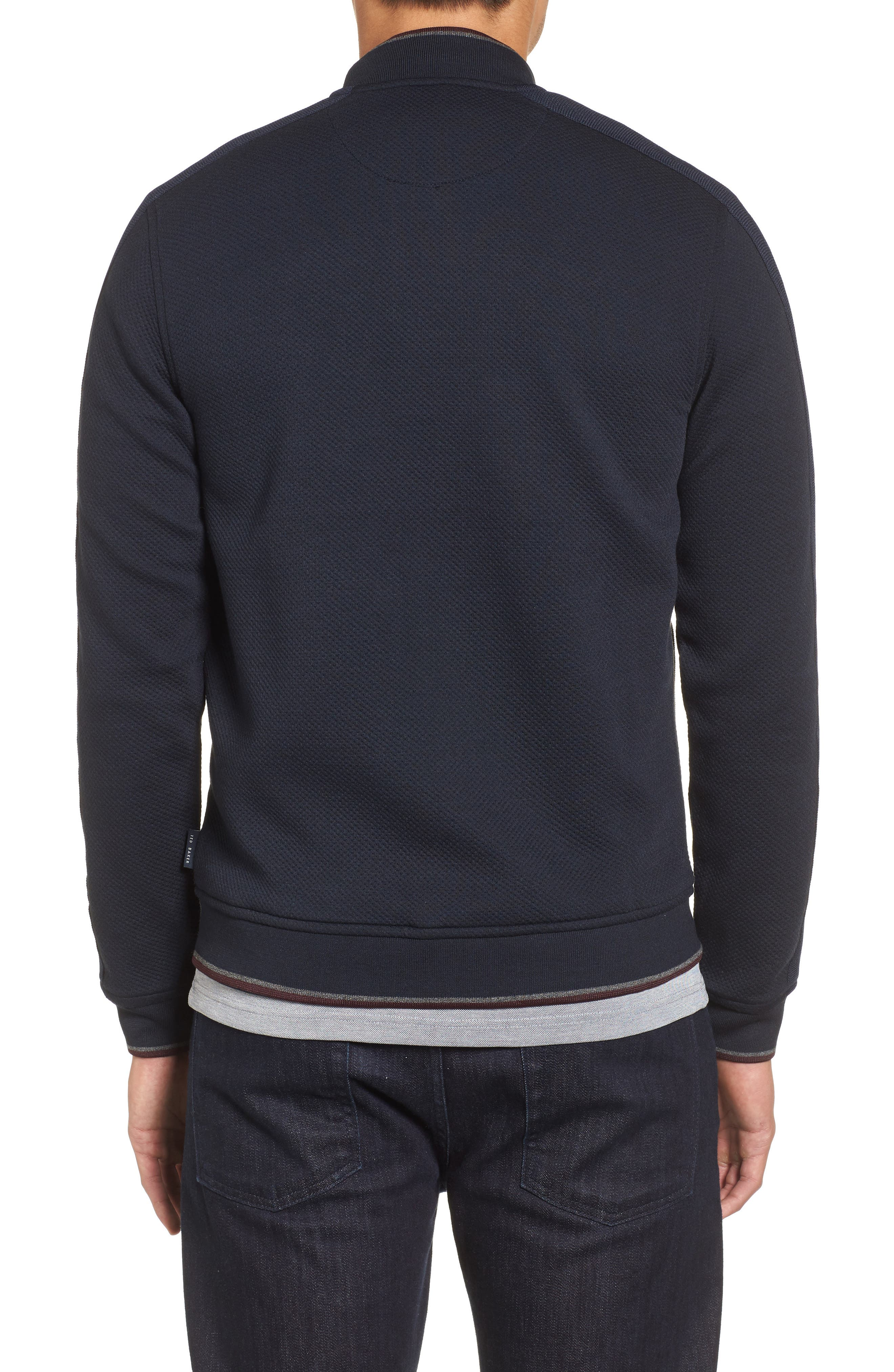 Whatts Trim Fit Textured Bomber Jacket,                             Alternate thumbnail 2, color,                             Navy