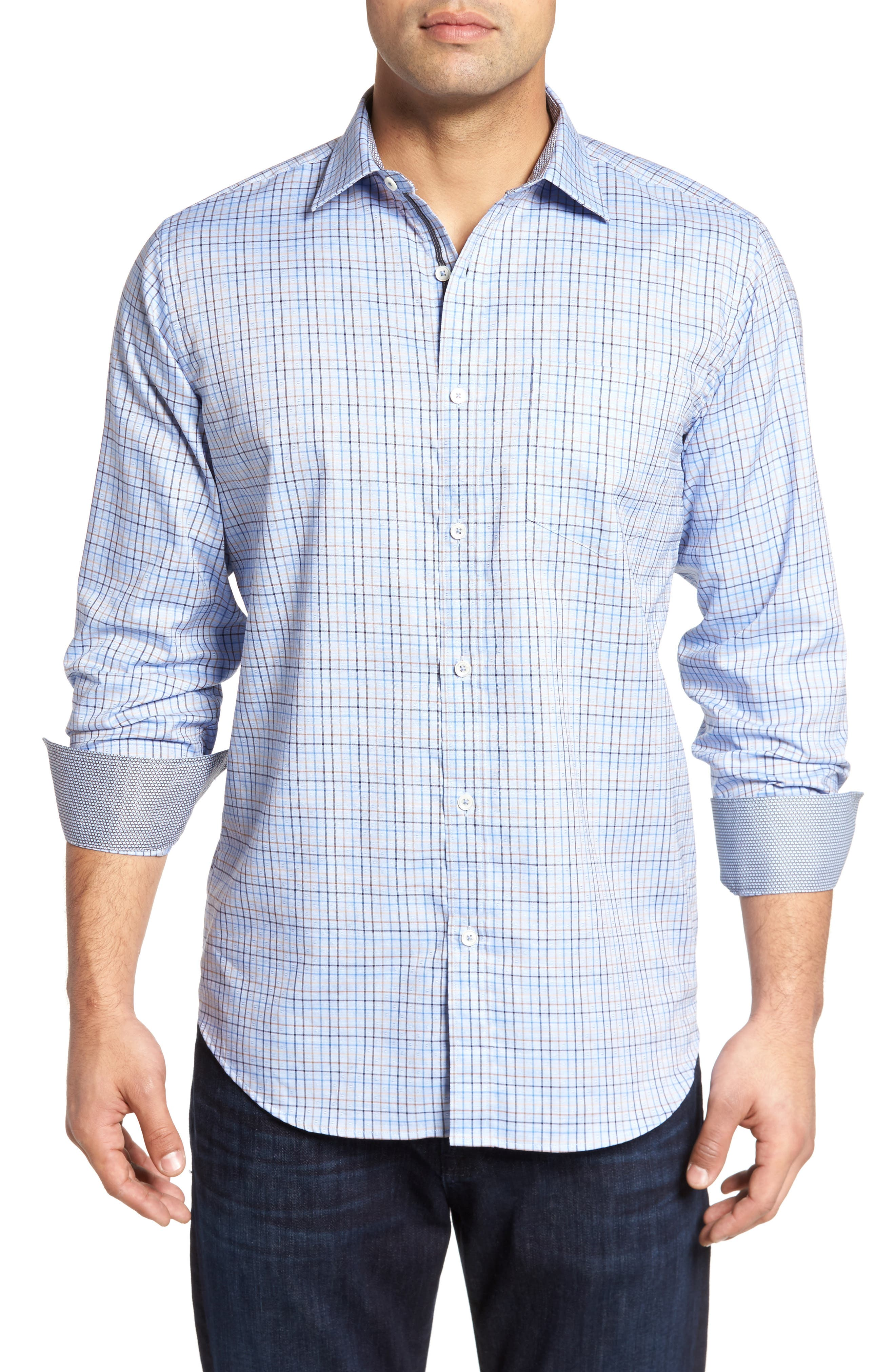 Alternate Image 1 Selected - Bugatchi Classic Fit Dobby Grid Plaid Sport Shirt