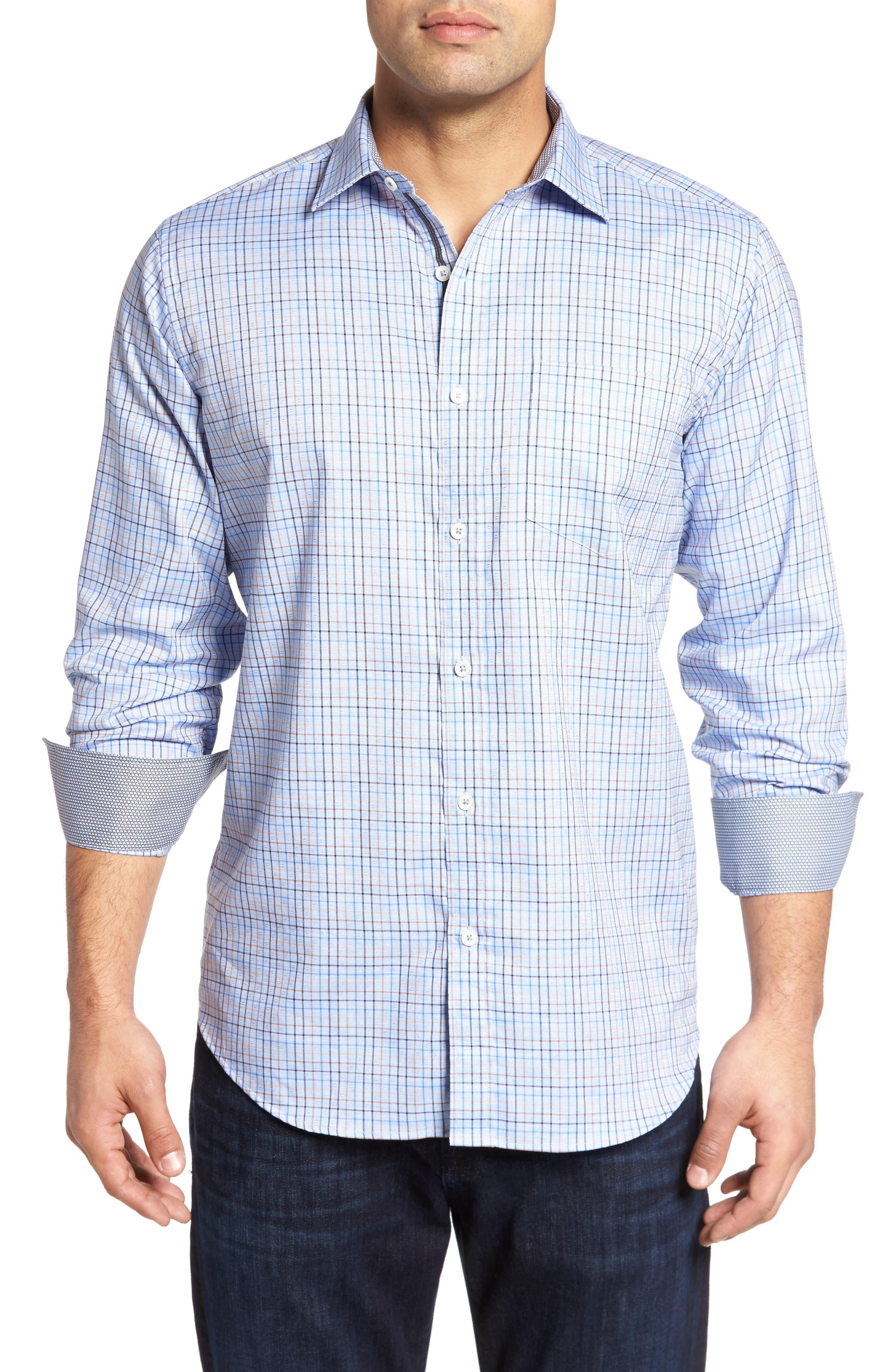 Classic Fit Dobby Grid Plaid Sport Shirt,                         Main,                         color, Sky
