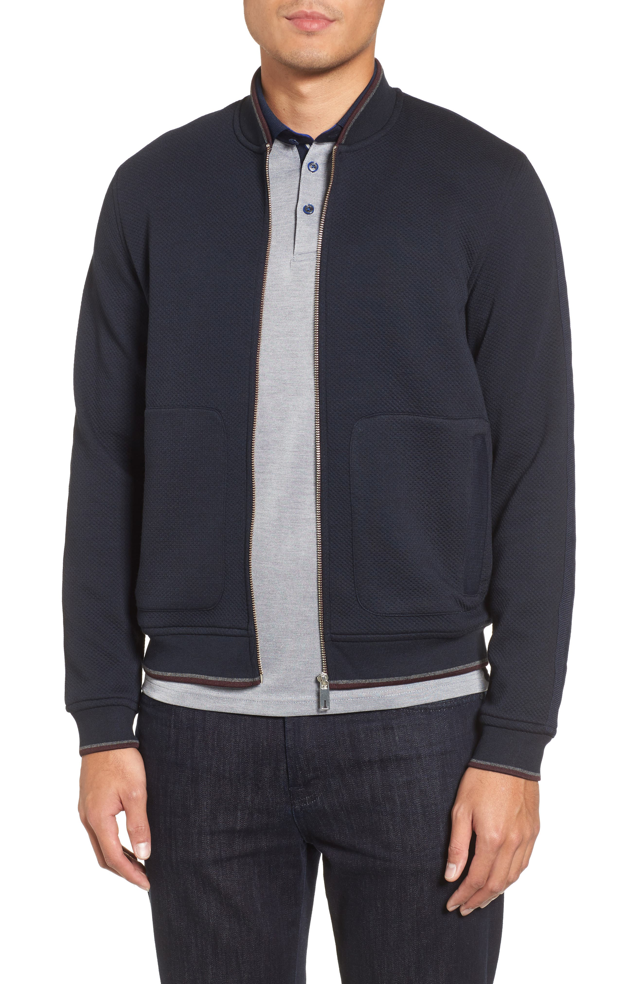 Whatts Trim Fit Textured Bomber Jacket,                             Main thumbnail 1, color,                             Navy
