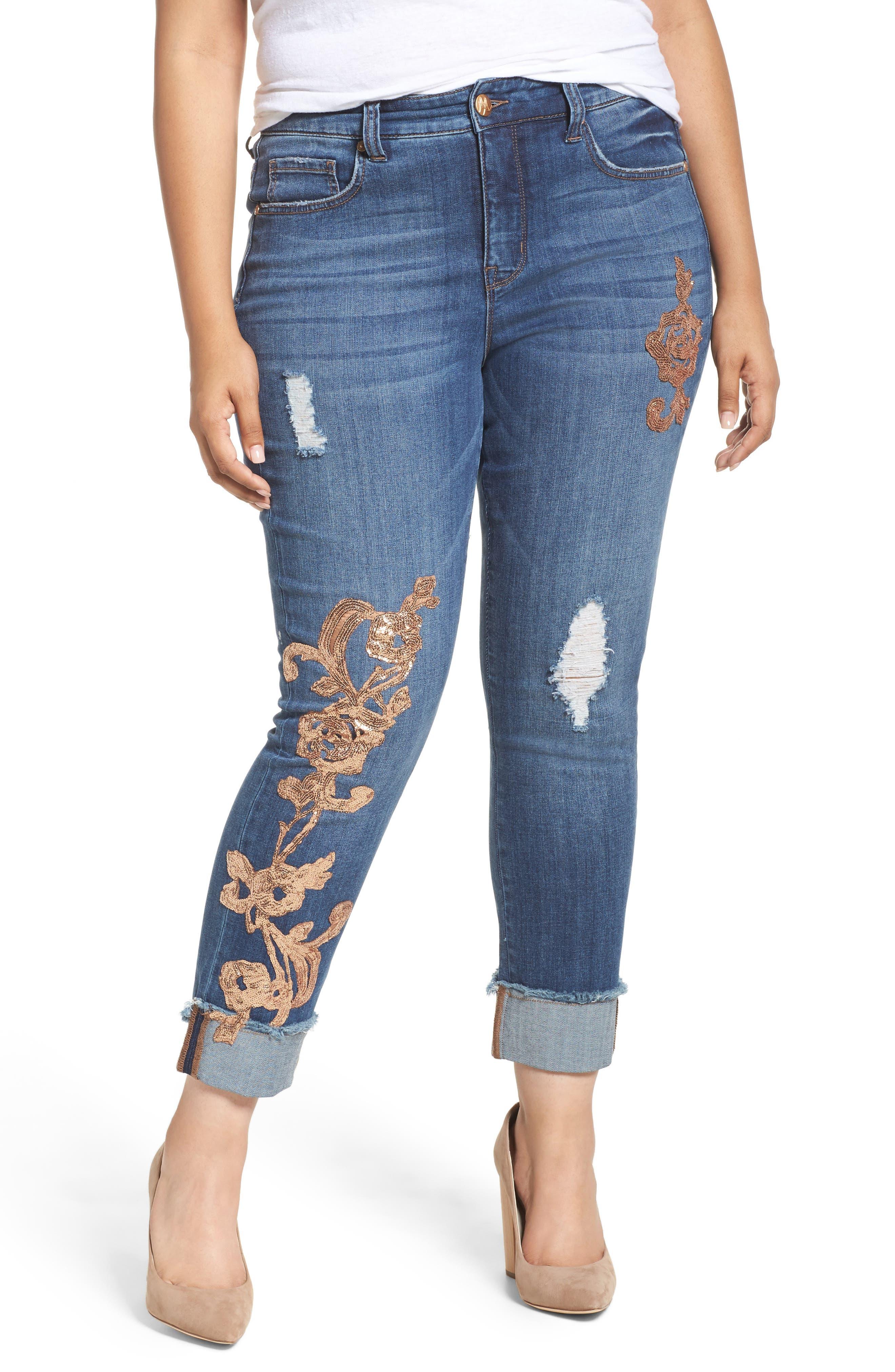 Main Image - Melissa McCarthy Seven7 Sequin Appliqué Skinny Jeans (Sofia) (Plus Size)