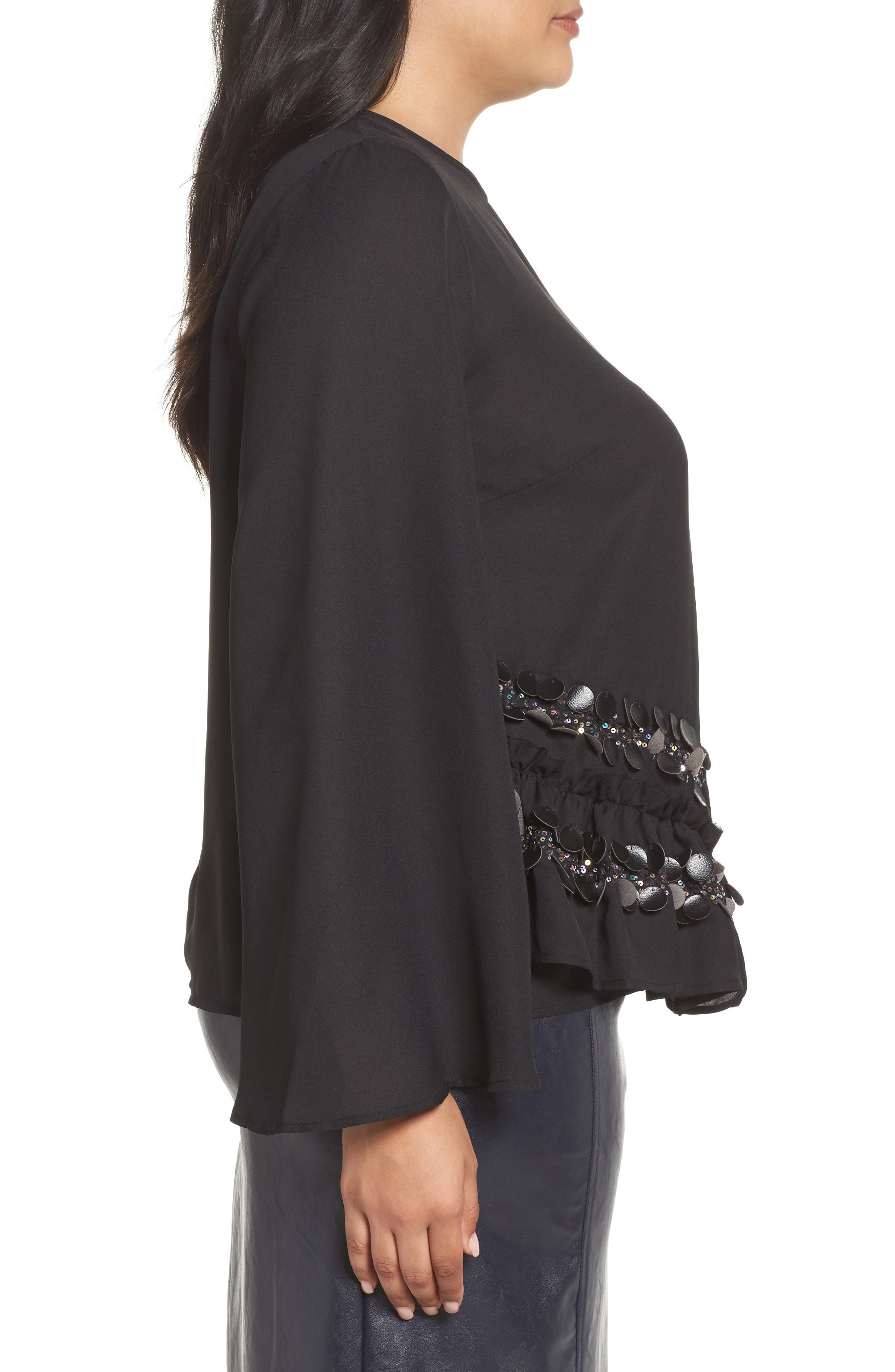 Sequin Ruffle Swing Top,                             Alternate thumbnail 3, color,                             Black