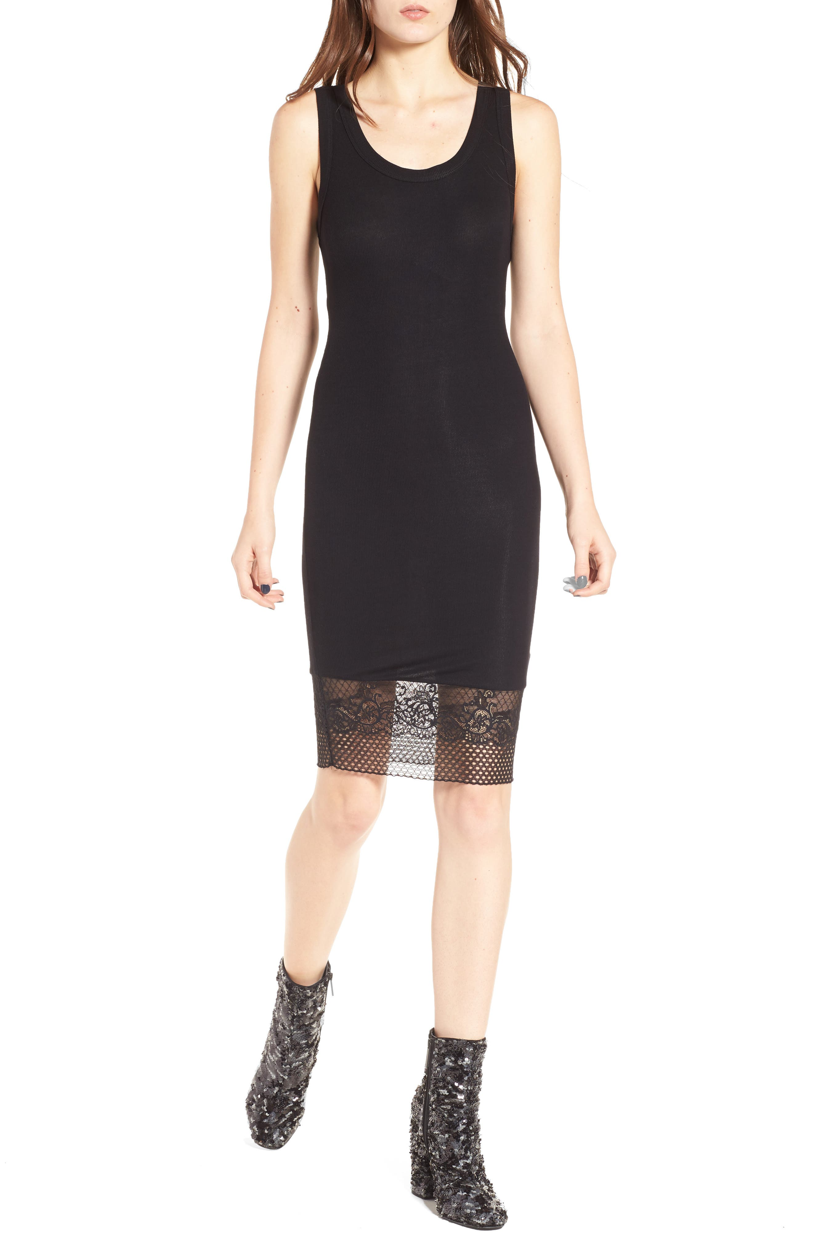Alternate Image 1 Selected - KENDALL + KYLIE Lace Hem Tank Dress