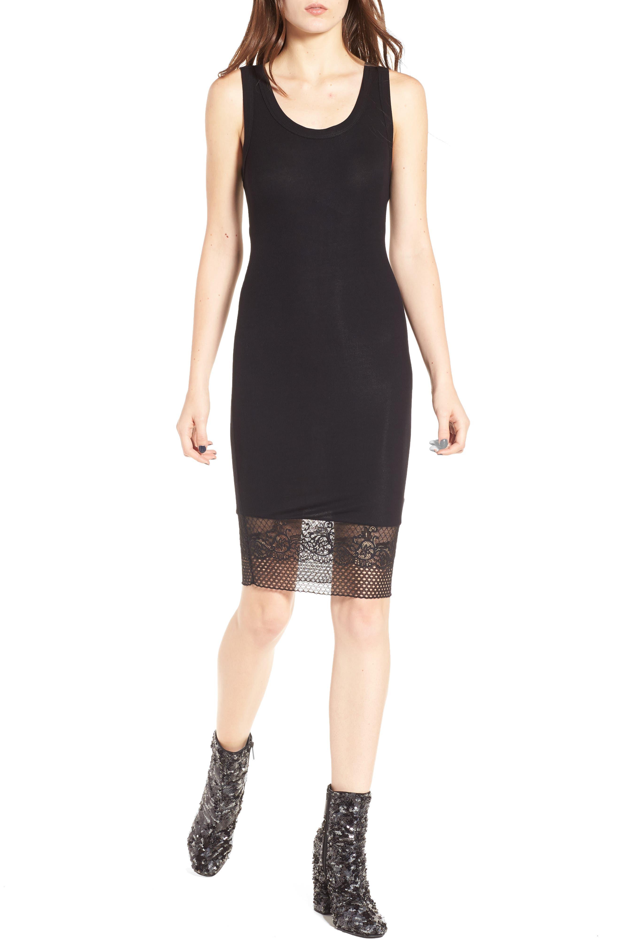 Lace Hem Tank Dress,                             Main thumbnail 1, color,                             Black