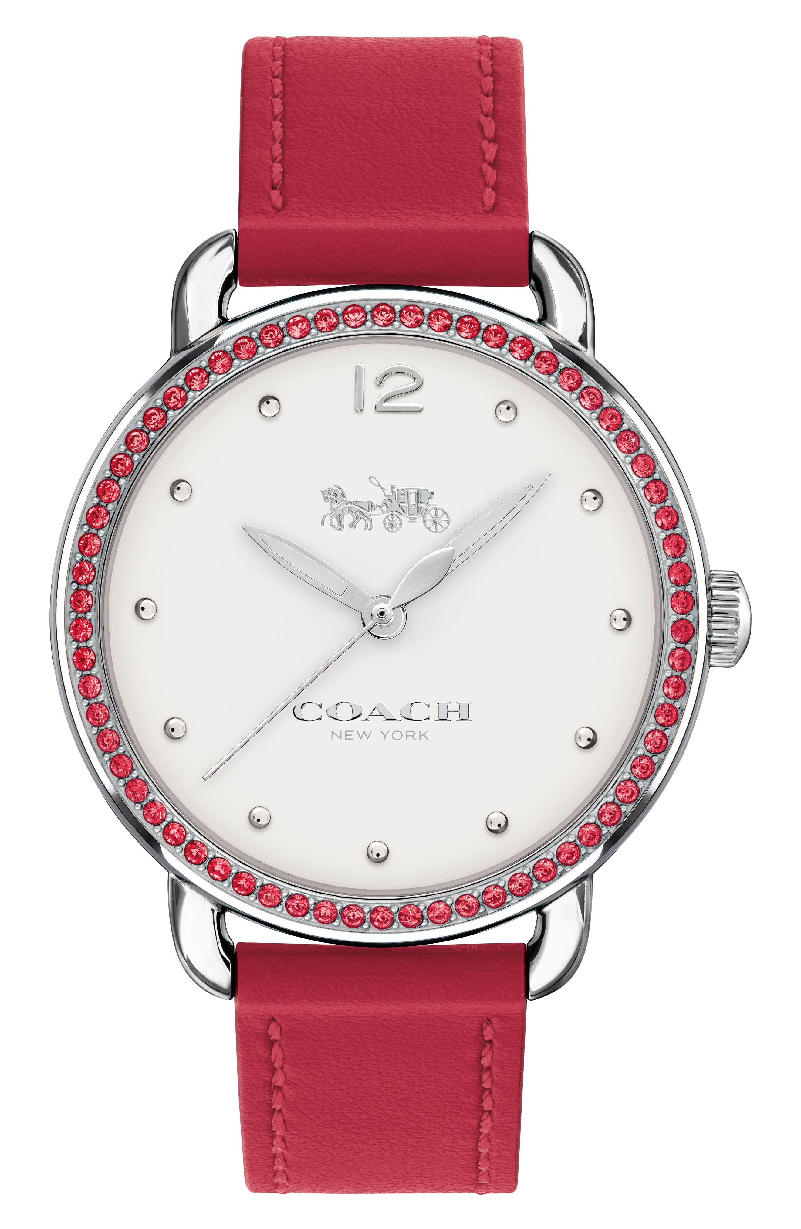 Delancey Pavé Bezel Leather Strap Watch, 36mm,                         Main,                         color, Red/ White/ Silver