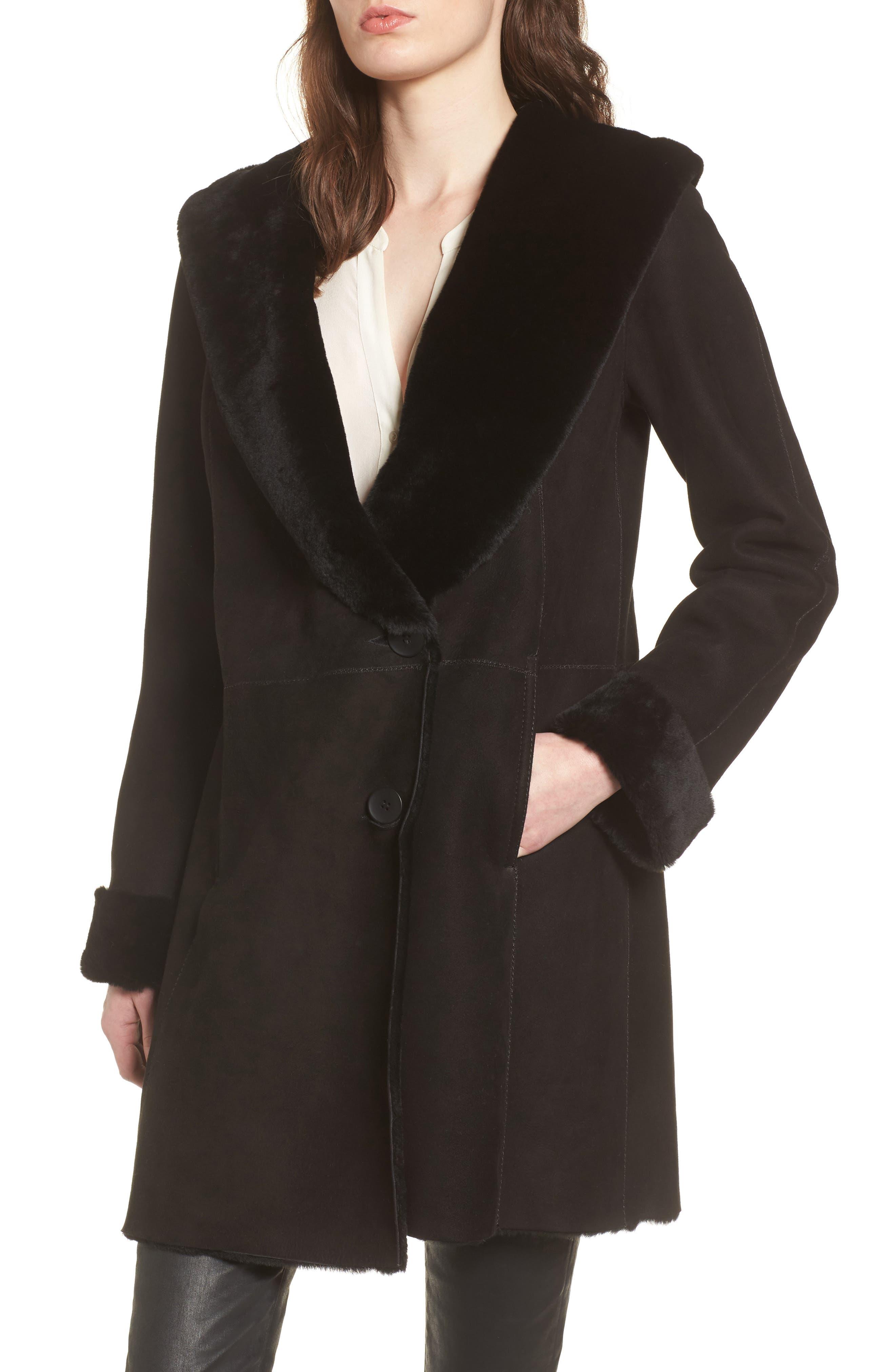 Genuine Shearling Coat,                             Main thumbnail 1, color,                             Black