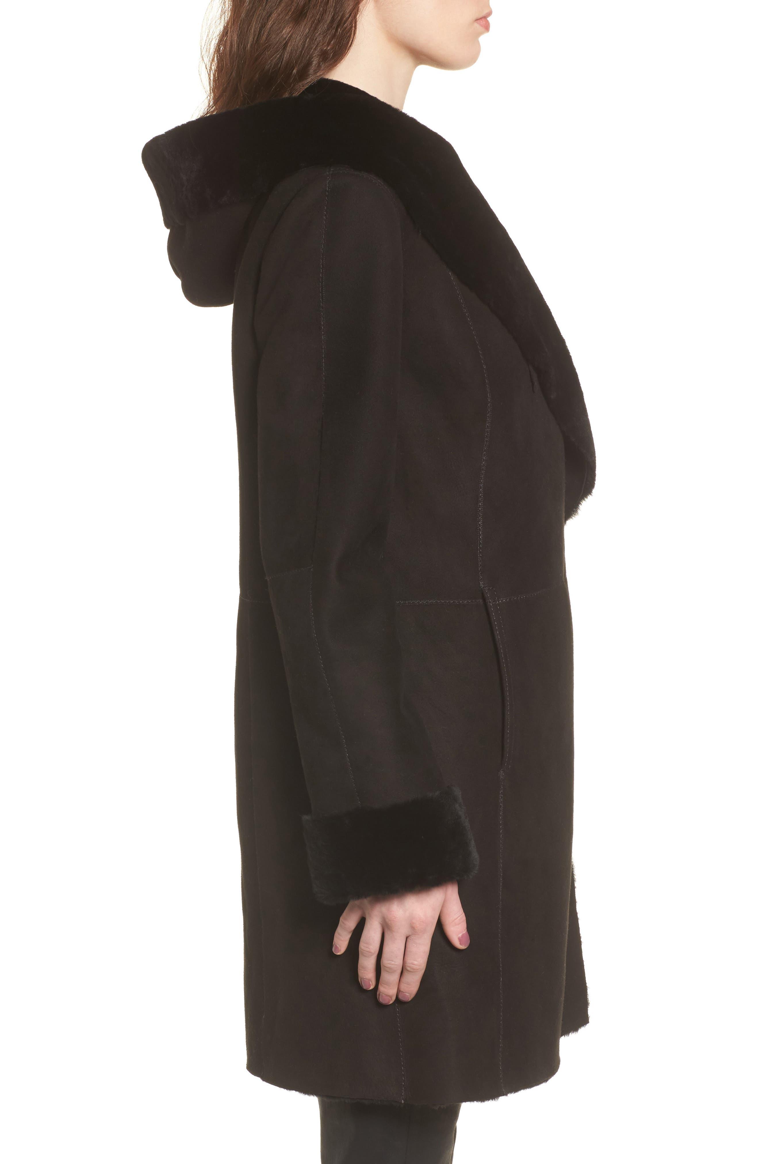 Genuine Shearling Coat,                             Alternate thumbnail 3, color,                             Black