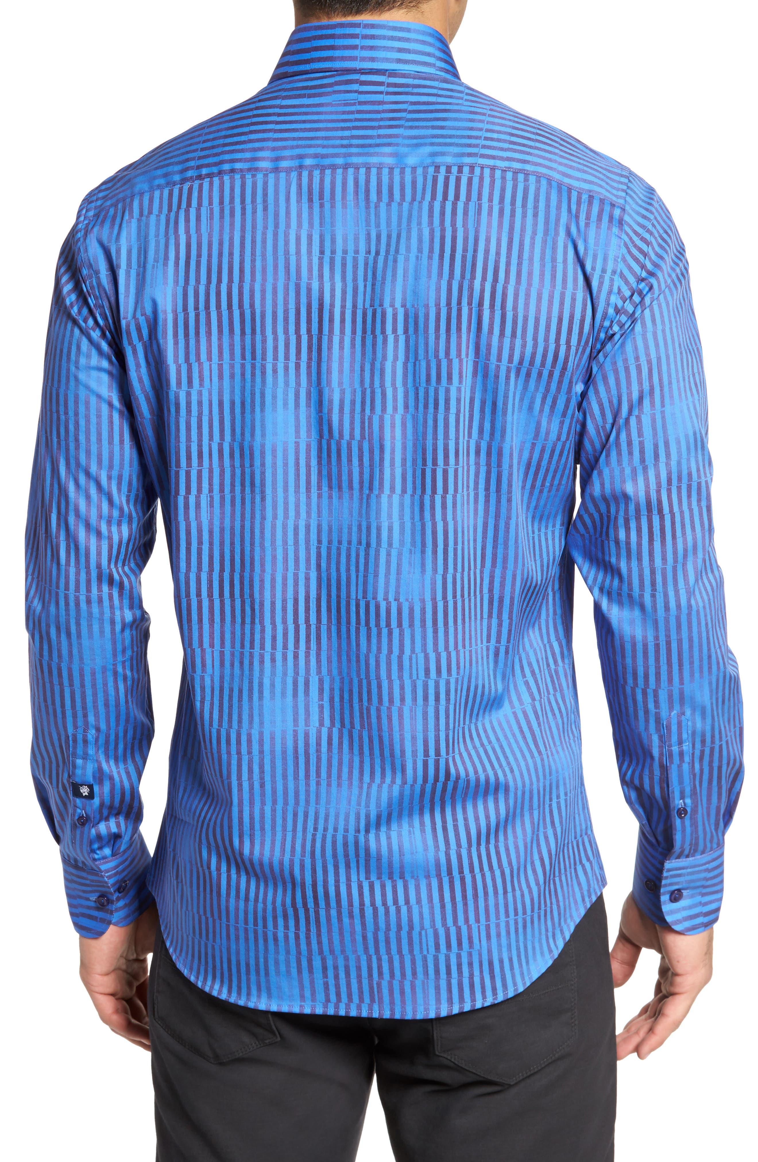 Bold FX Stripe Print Sport Shirt,                             Alternate thumbnail 2, color,                             Electric Blue