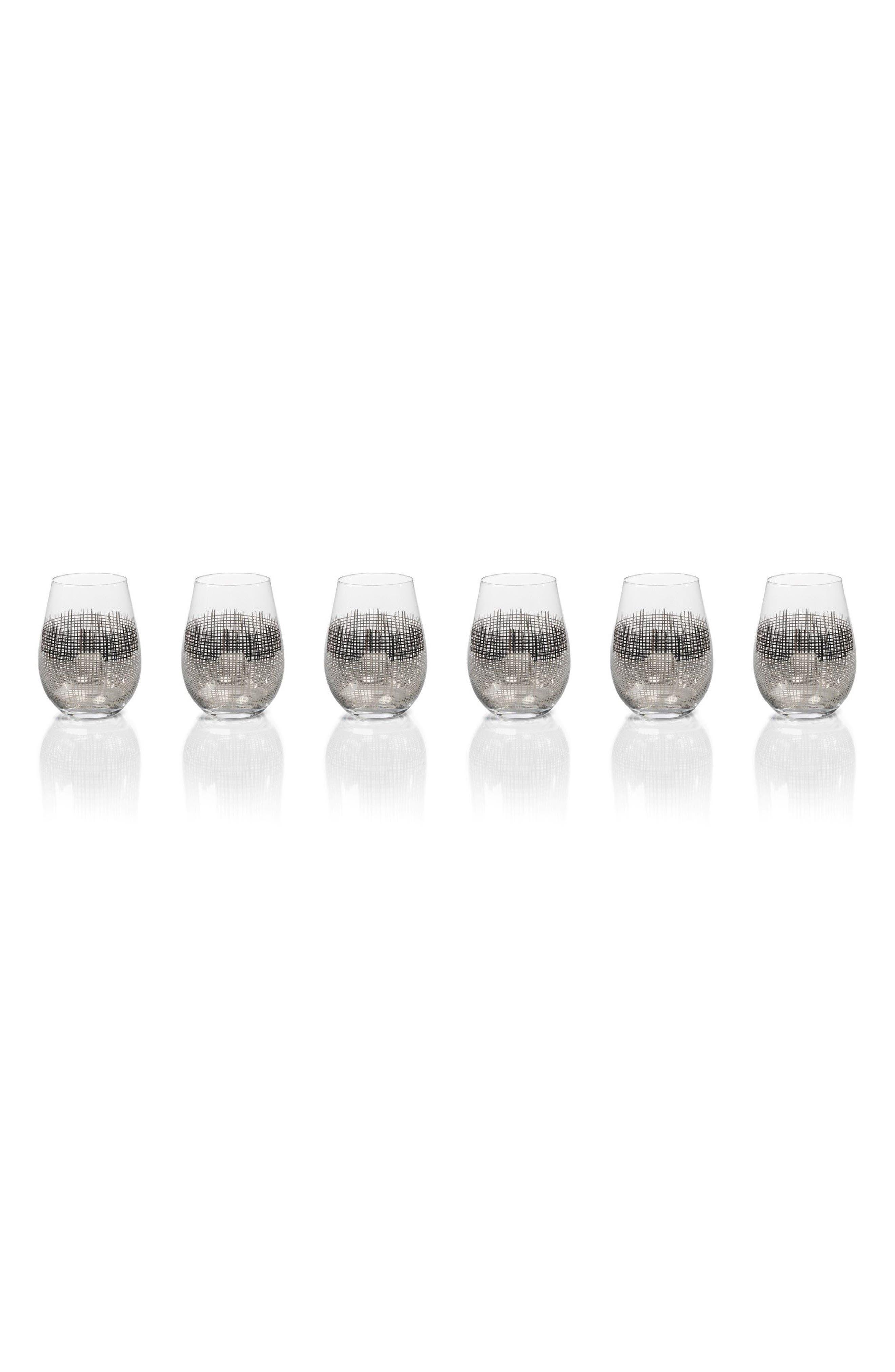 Reza Set of 6 Stemless Wine Glasses,                         Main,                         color, Platinum