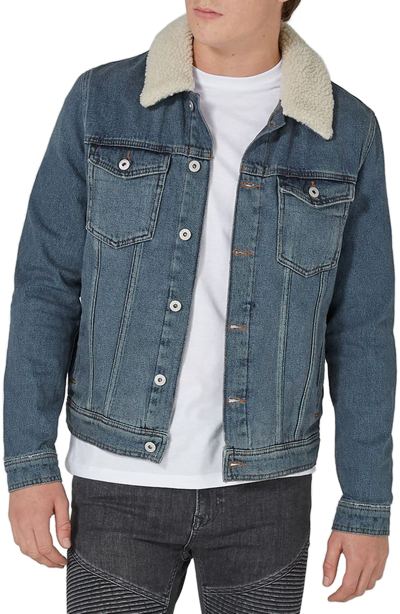 Topman Borg Collar Denim Jacket