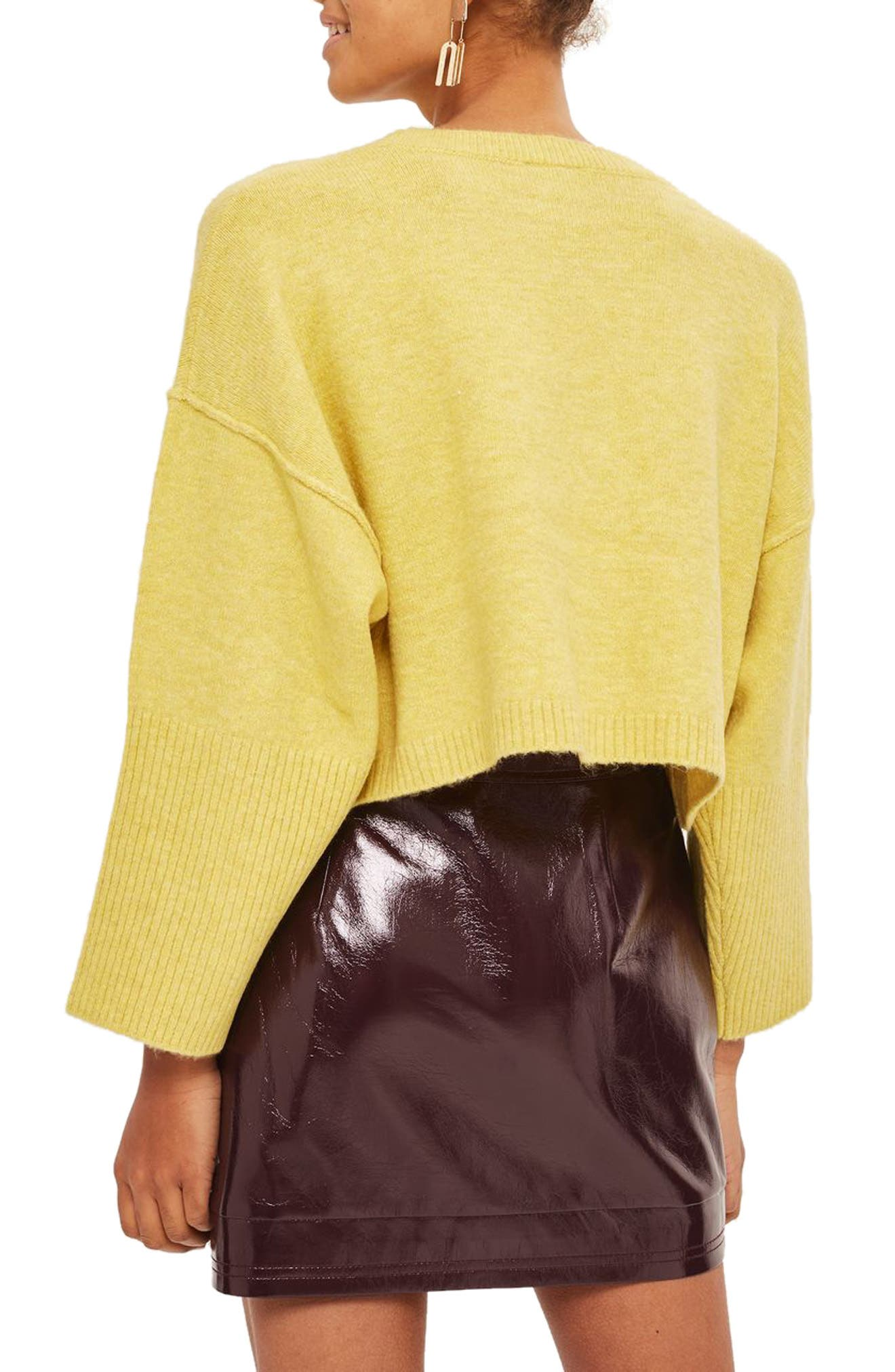 Wide Sleeve Crop Sweater,                             Alternate thumbnail 3, color,                             Yellow
