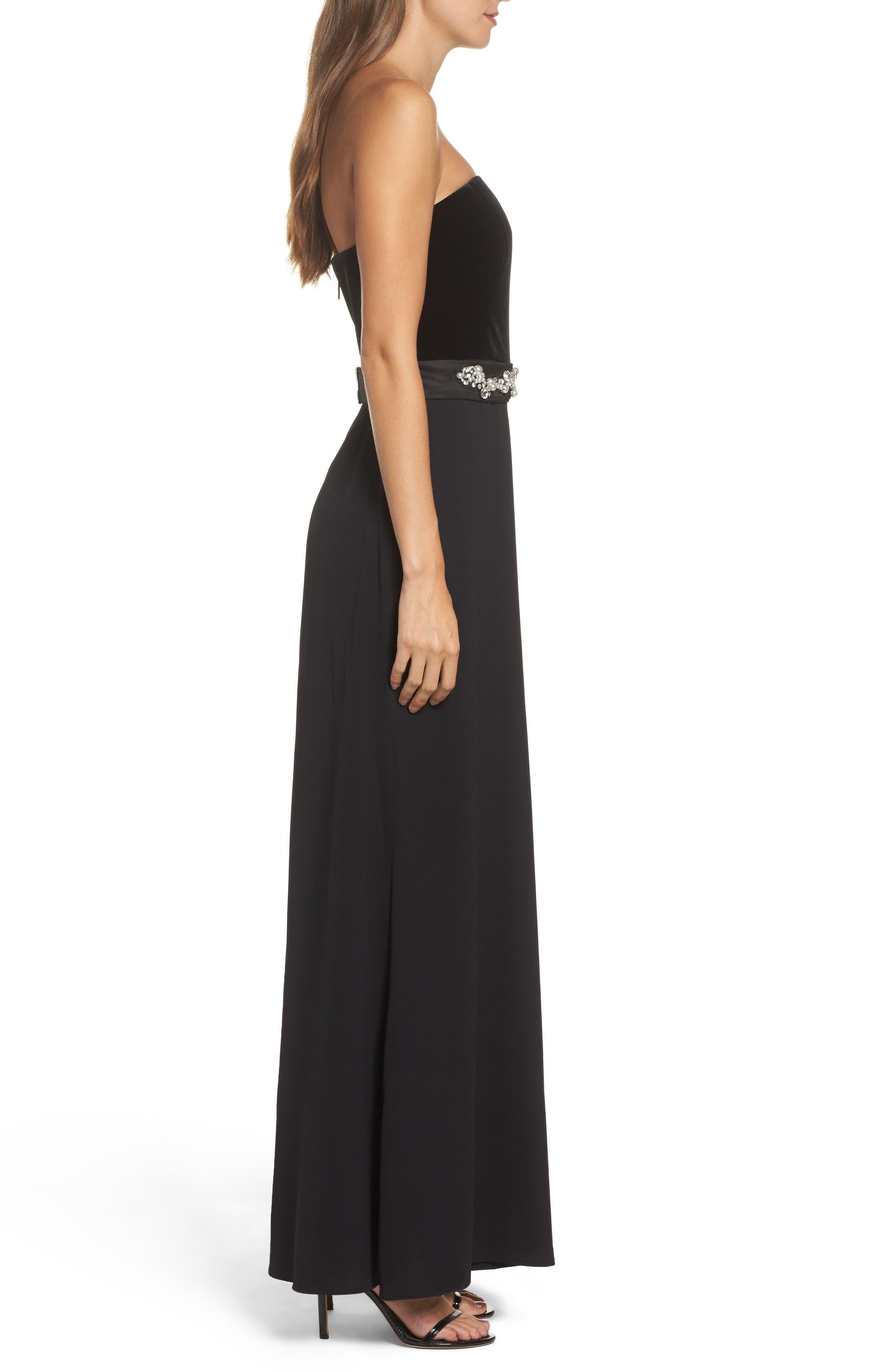 Alternate Image 3  - Eliza J Embellished Belt Strapless Velvet & Crepe Jumpsuit