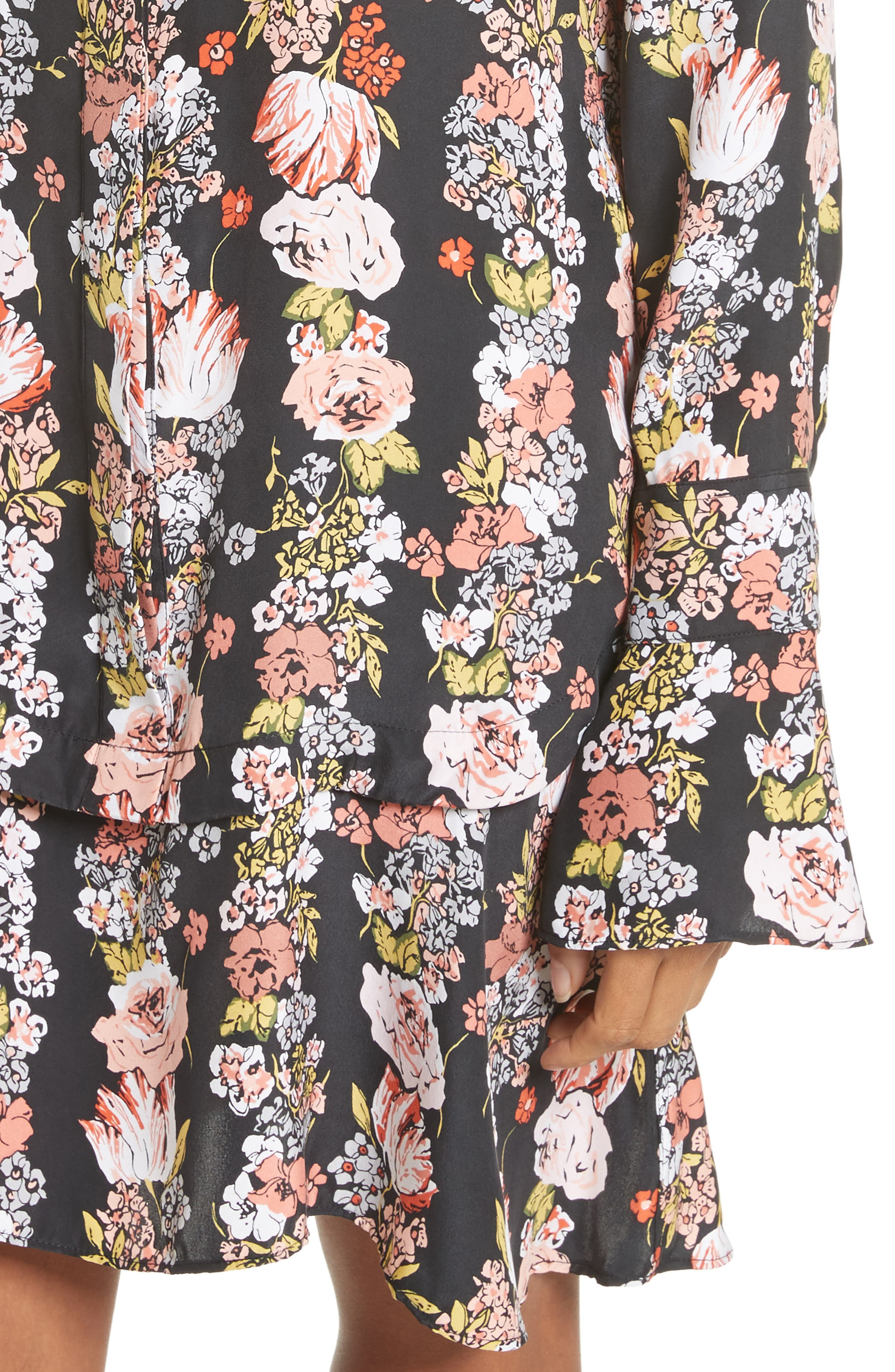Daphne Silk Shirtdress,                             Alternate thumbnail 4, color,                             True Black Multi