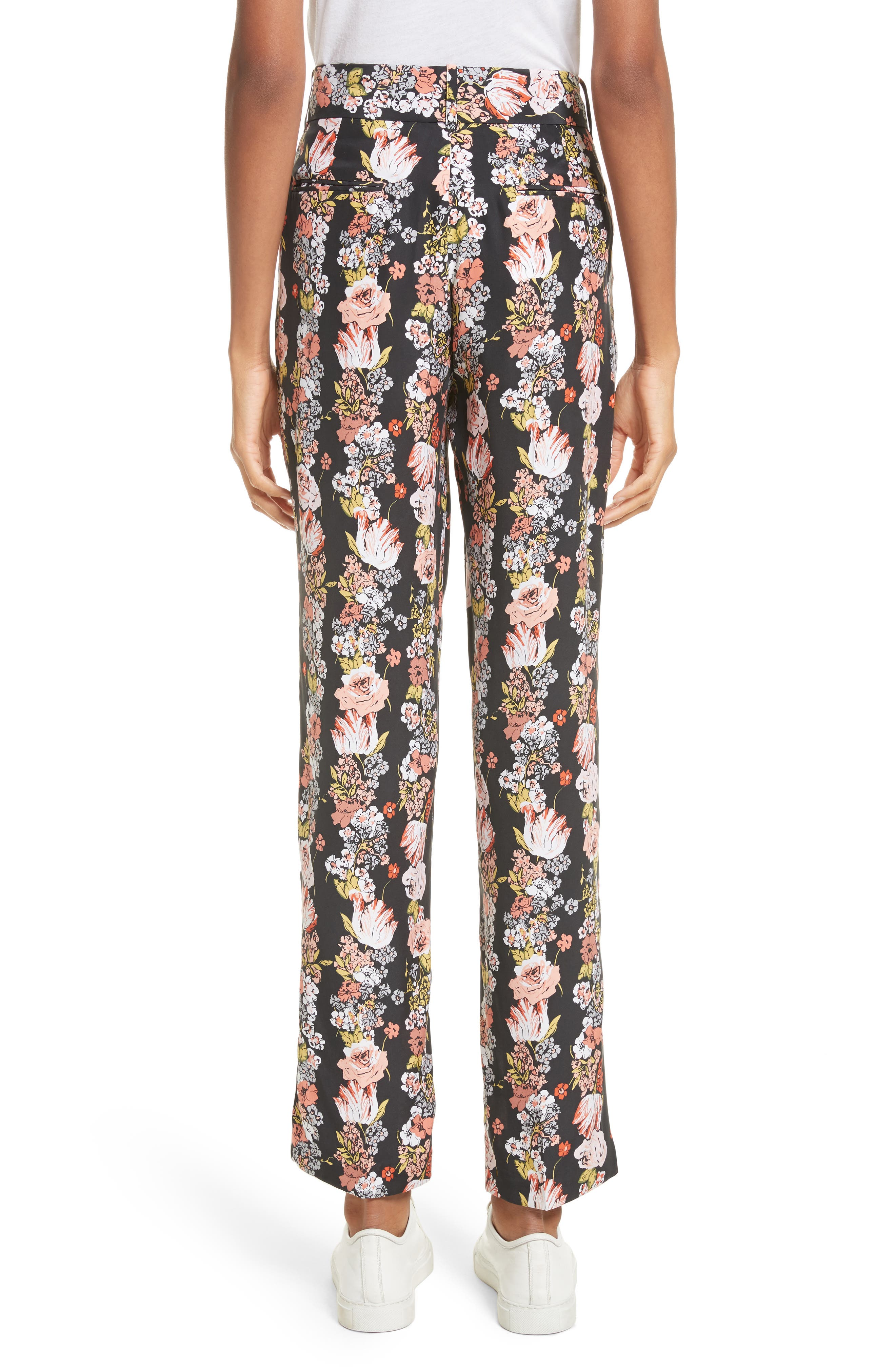Florence Floral Silk Trousers,                             Alternate thumbnail 2, color,                             True Black Multi