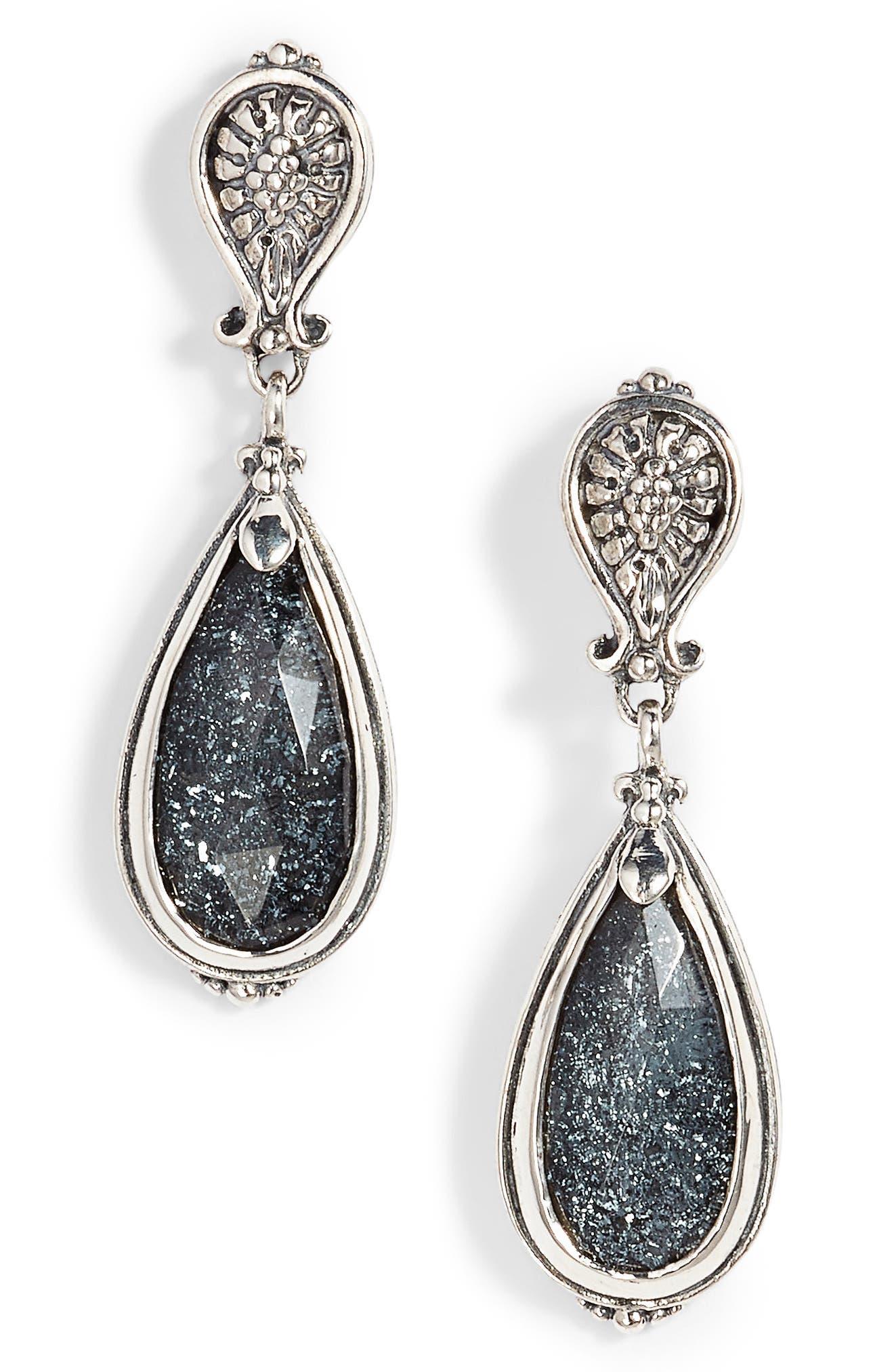 Santorini Spinel Drop Earrings,                             Main thumbnail 1, color,                             Silver/ Hematite
