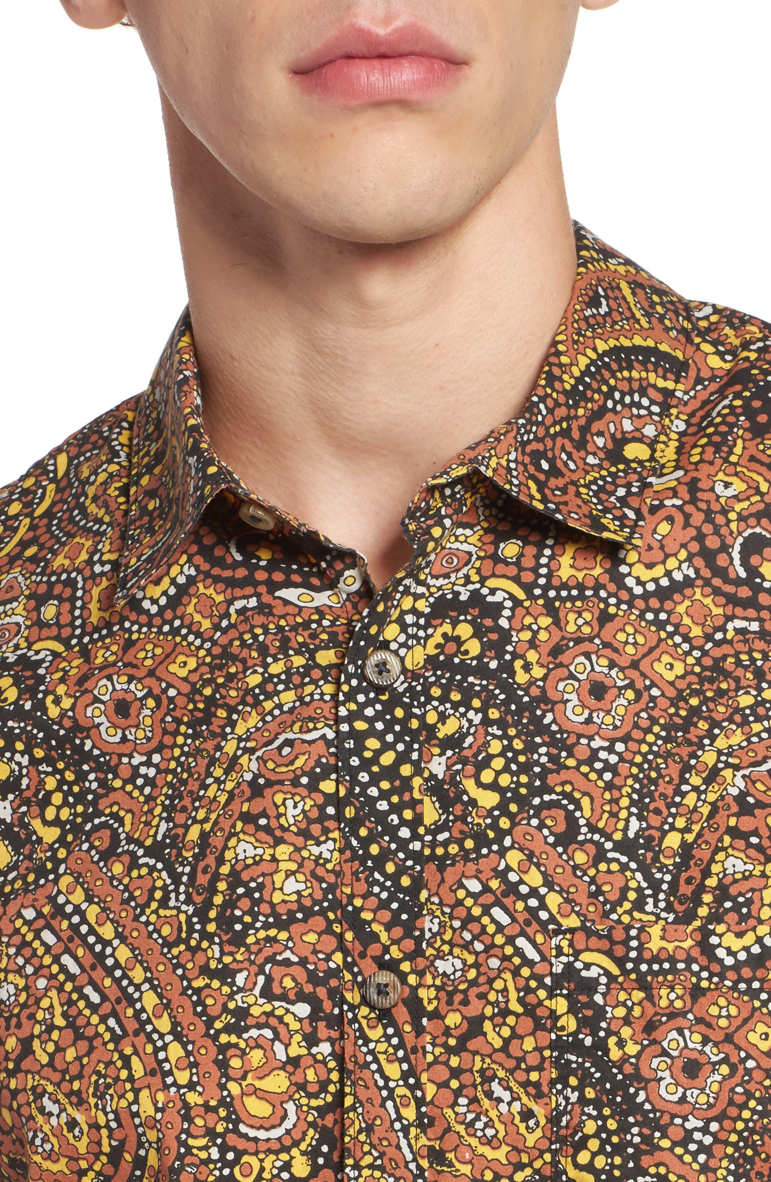 Sundays Woven Shirt,                             Alternate thumbnail 4, color,                             Brick