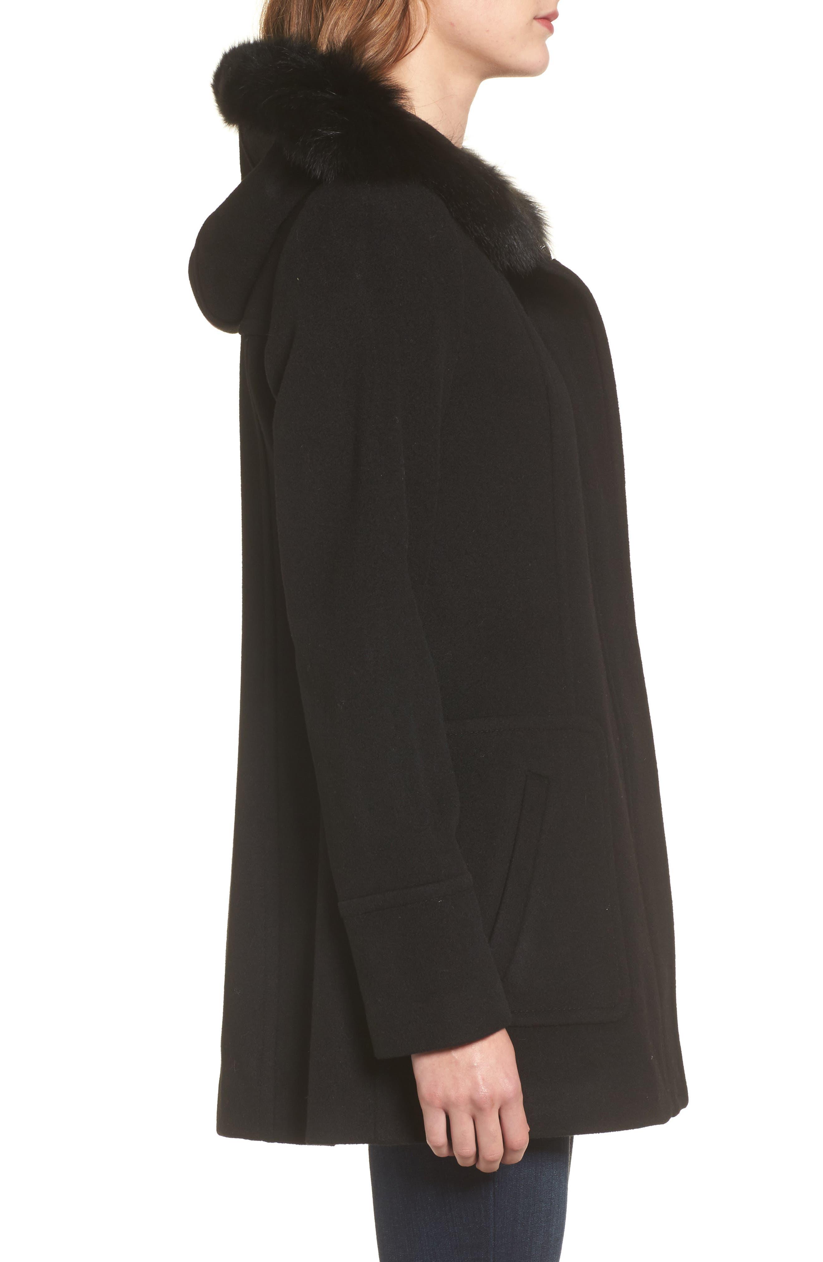 Hooded Wool Blend Coat with Genuine Fox Fur Trim,                             Alternate thumbnail 3, color,                             Black