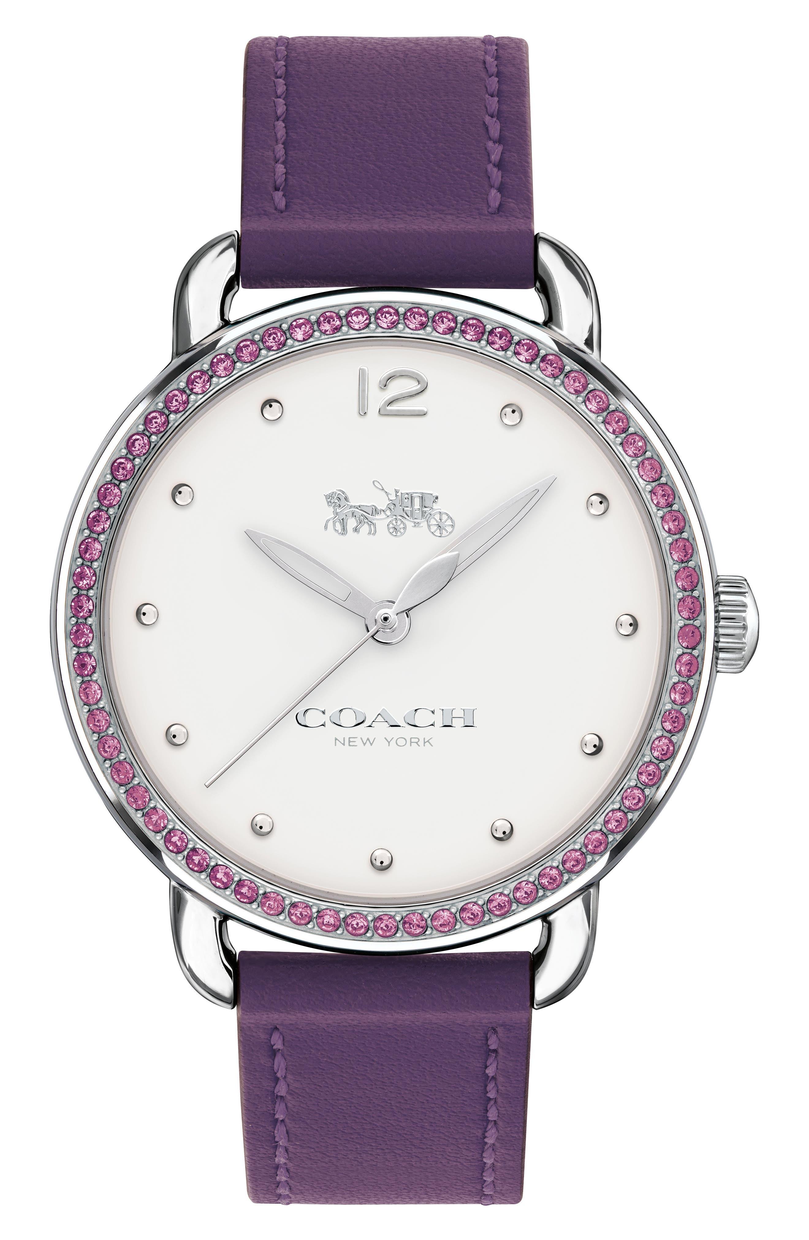 Delancey Pavé Bezel Leather Strap Watch, 36mm,                         Main,                         color, Purple/ White/ Silver