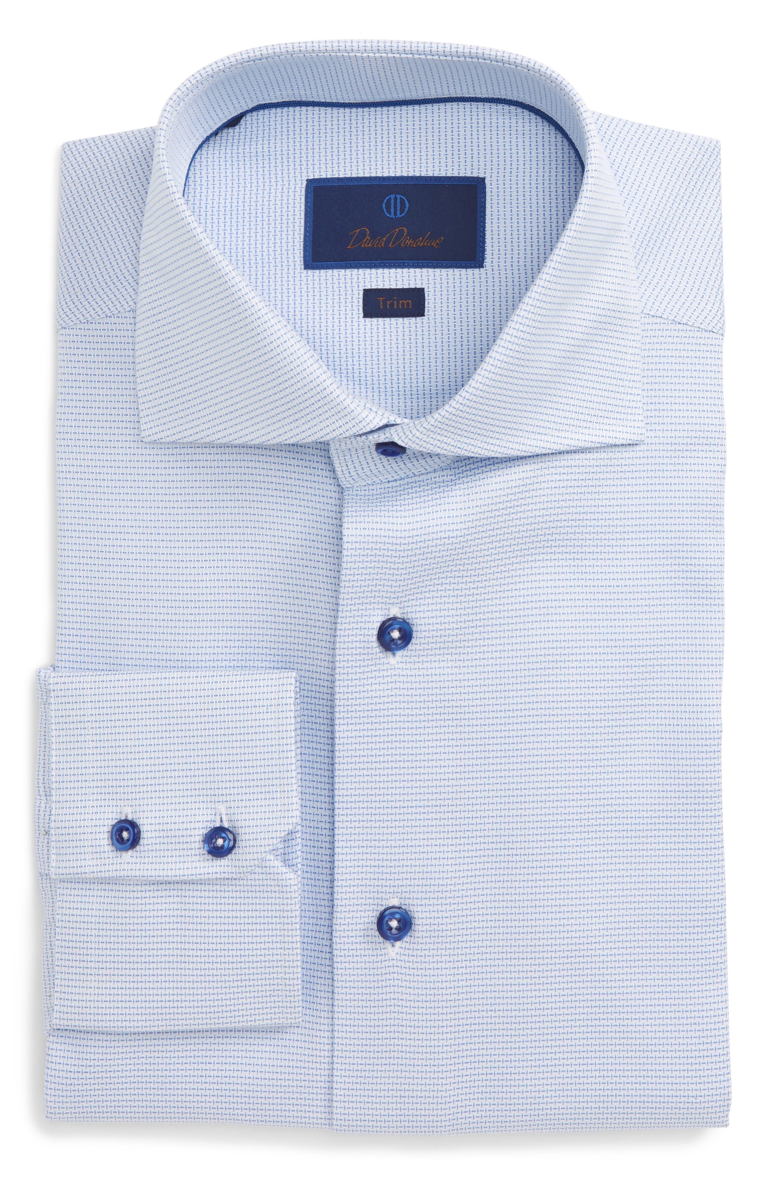 Trim Fit Solid Dress Shirt,                             Main thumbnail 1, color,                             Blue
