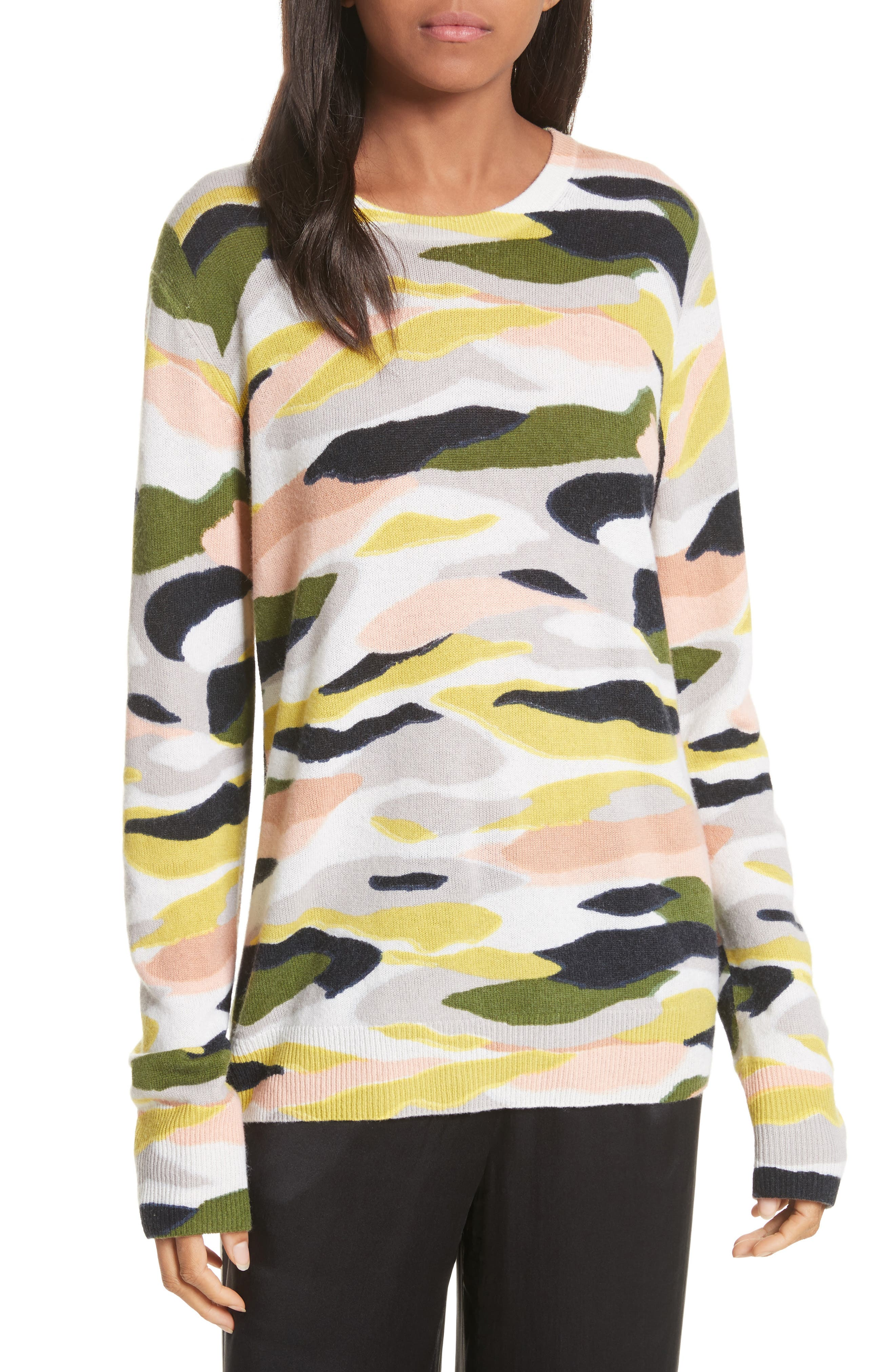 Shane Camo Print Cashmere Sweater,                         Main,                         color, Ivory Multi