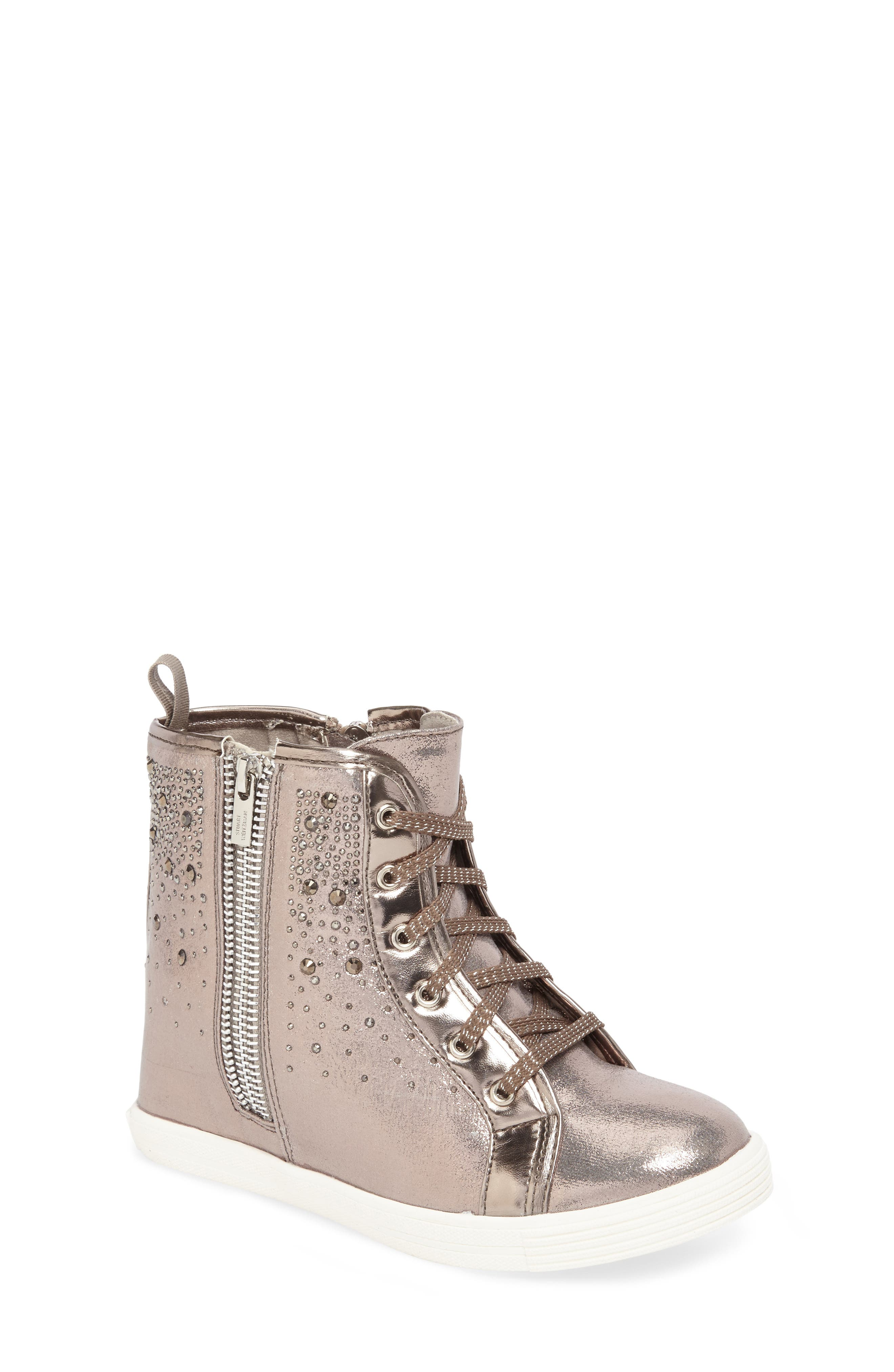 Vance Double Embellished Concealed Wedge High Top,                             Main thumbnail 1, color,                             Pewter