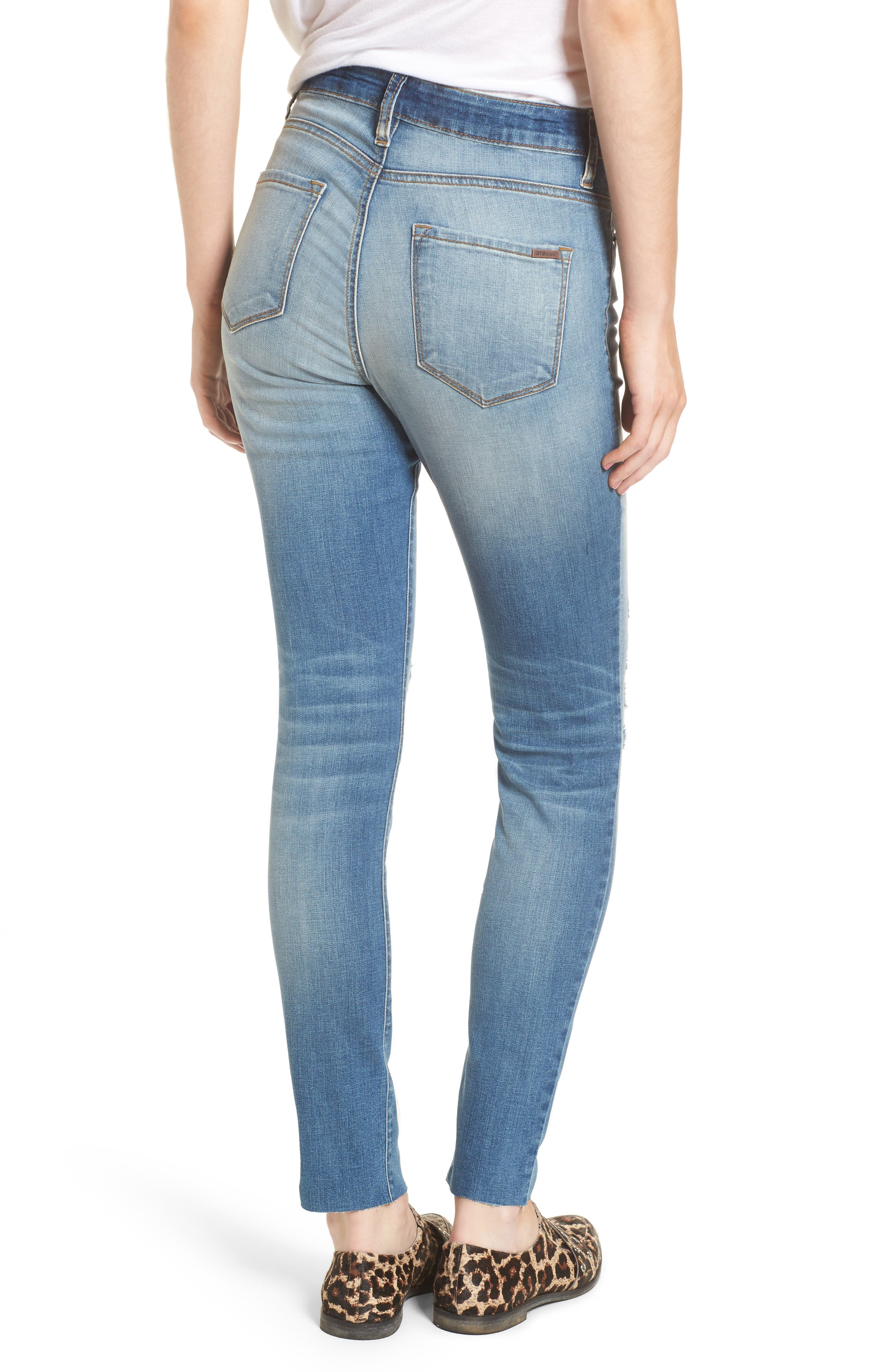 Ellie Ripped High Waist Skinny Jeans,                             Alternate thumbnail 2, color,                             Hill Grove