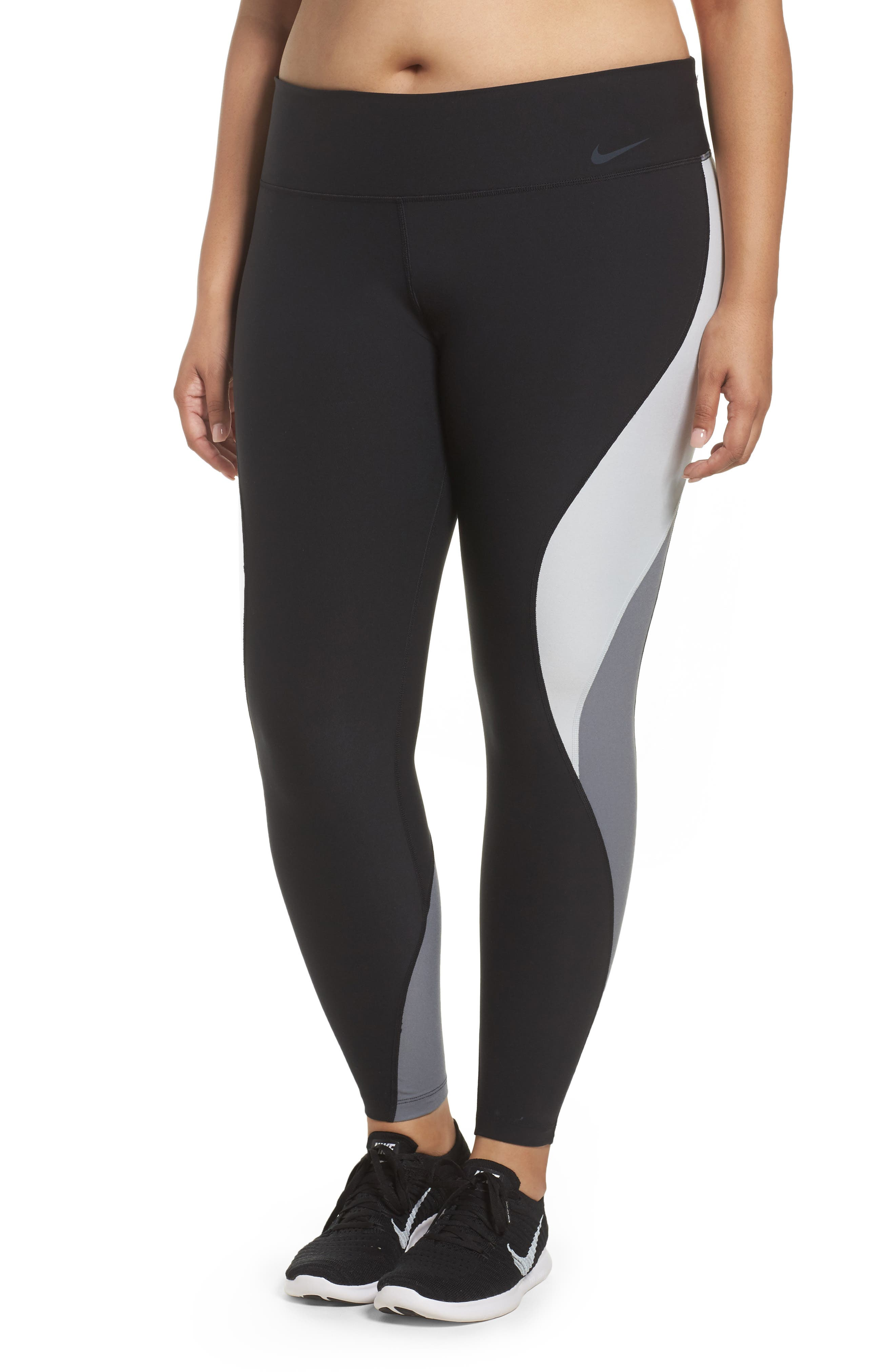 Power Legend Training Tights,                             Main thumbnail 1, color,                             Black/ Platinum/ Grey