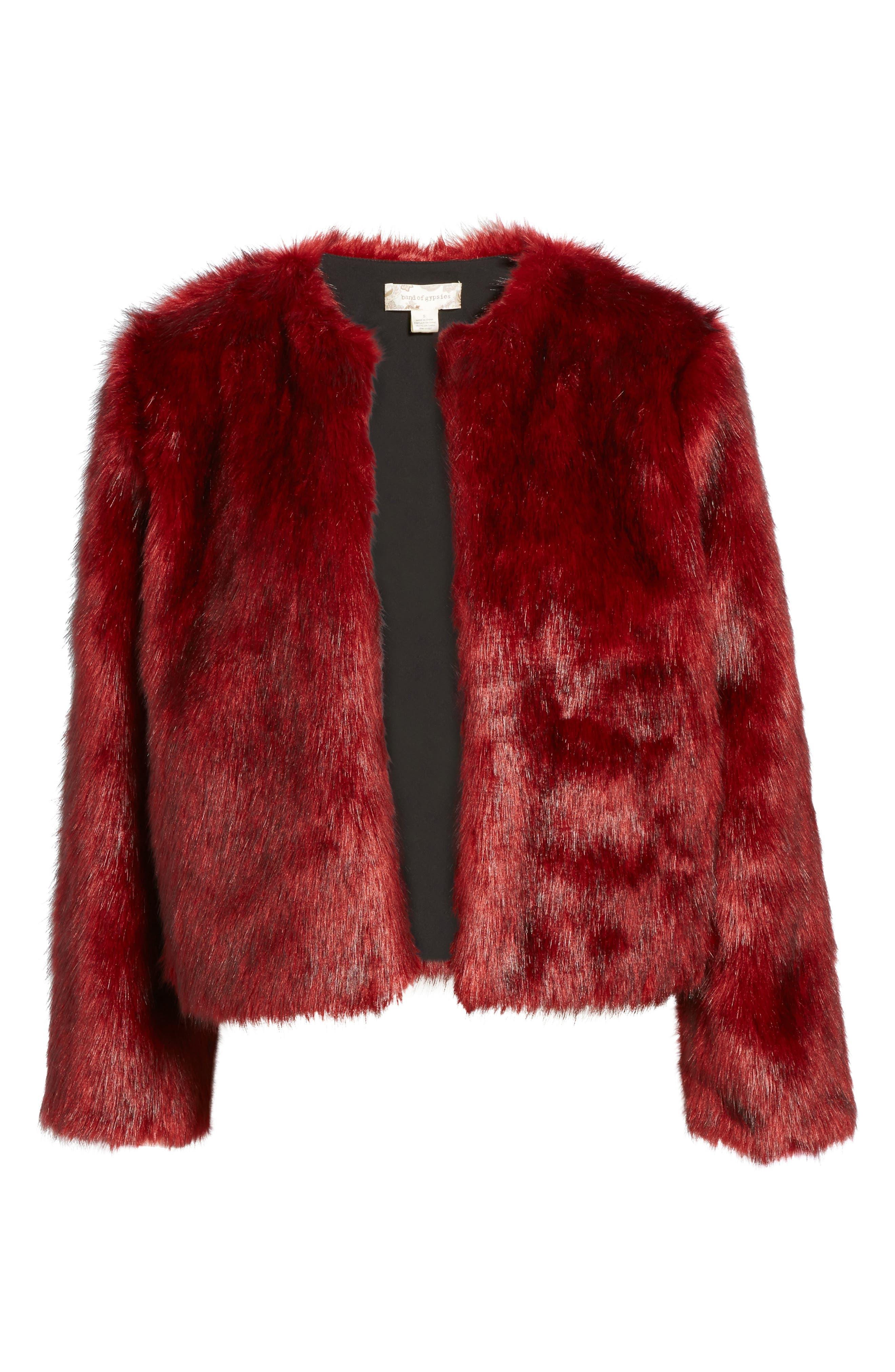 Faux Fur Jacket,                             Alternate thumbnail 6, color,                             Rouge Mink