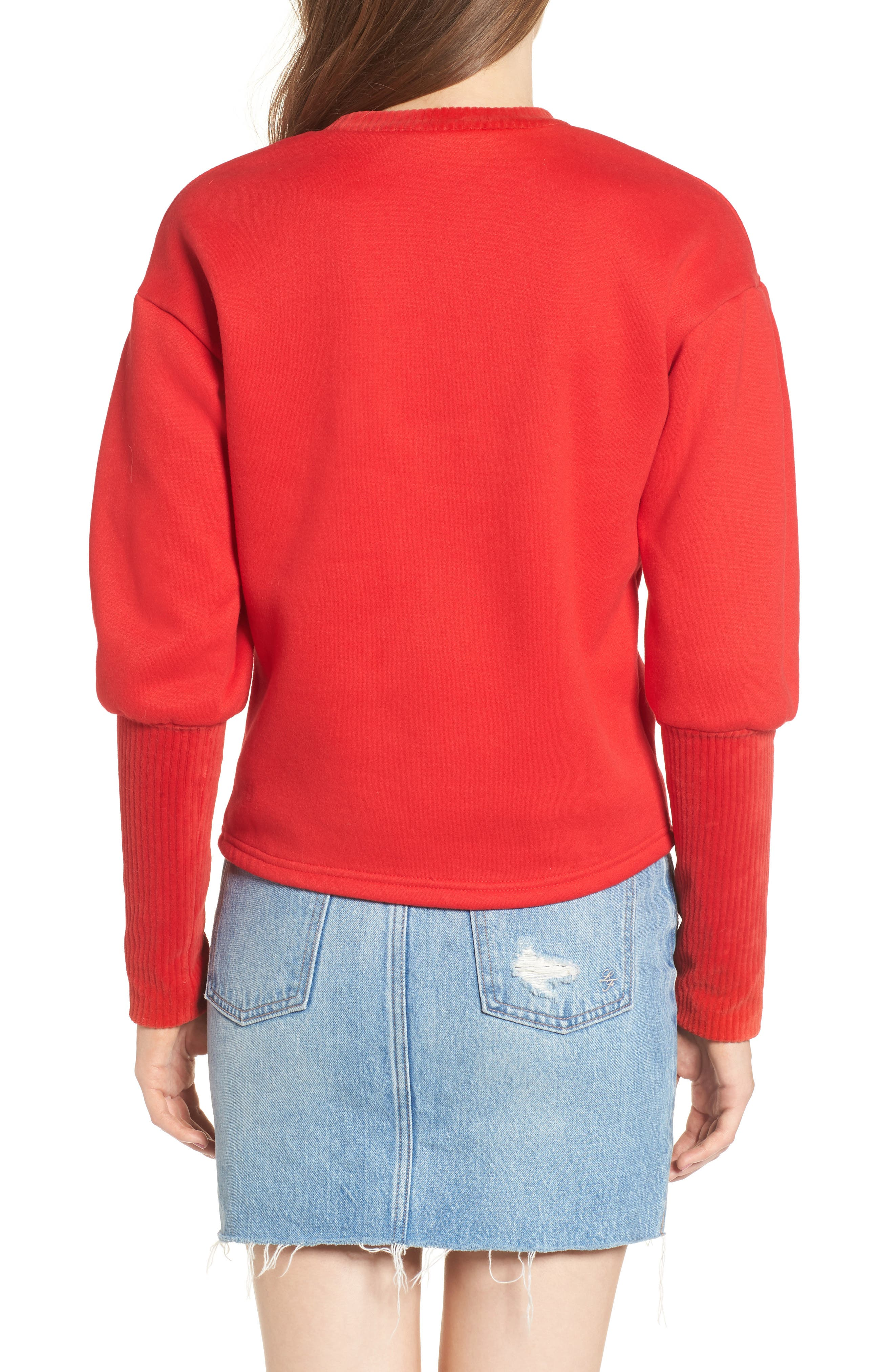 Rib Cuff Sweater,                             Alternate thumbnail 3, color,                             Red