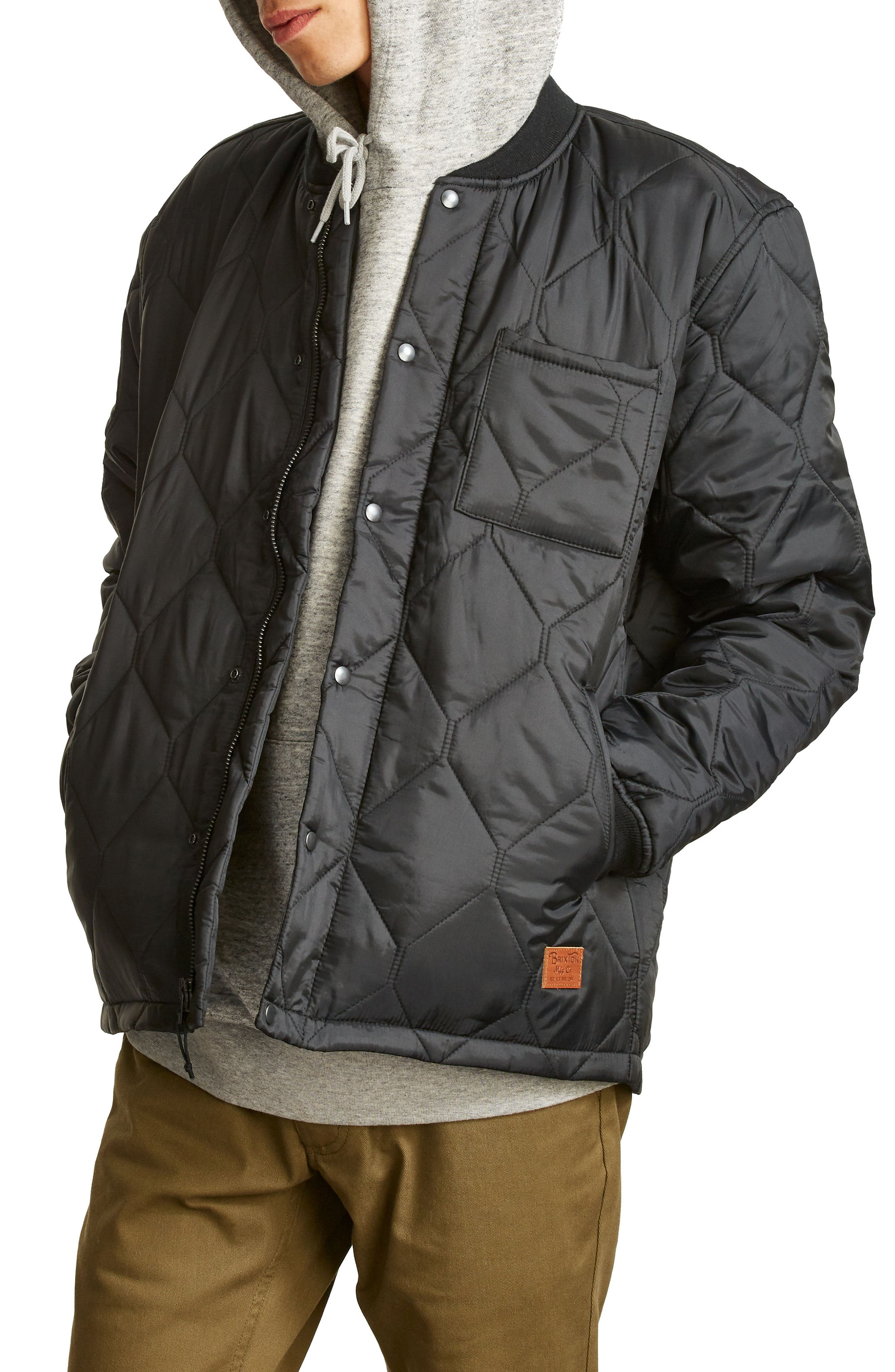 Crawford Quilted Jacket,                             Alternate thumbnail 3, color,                             Black