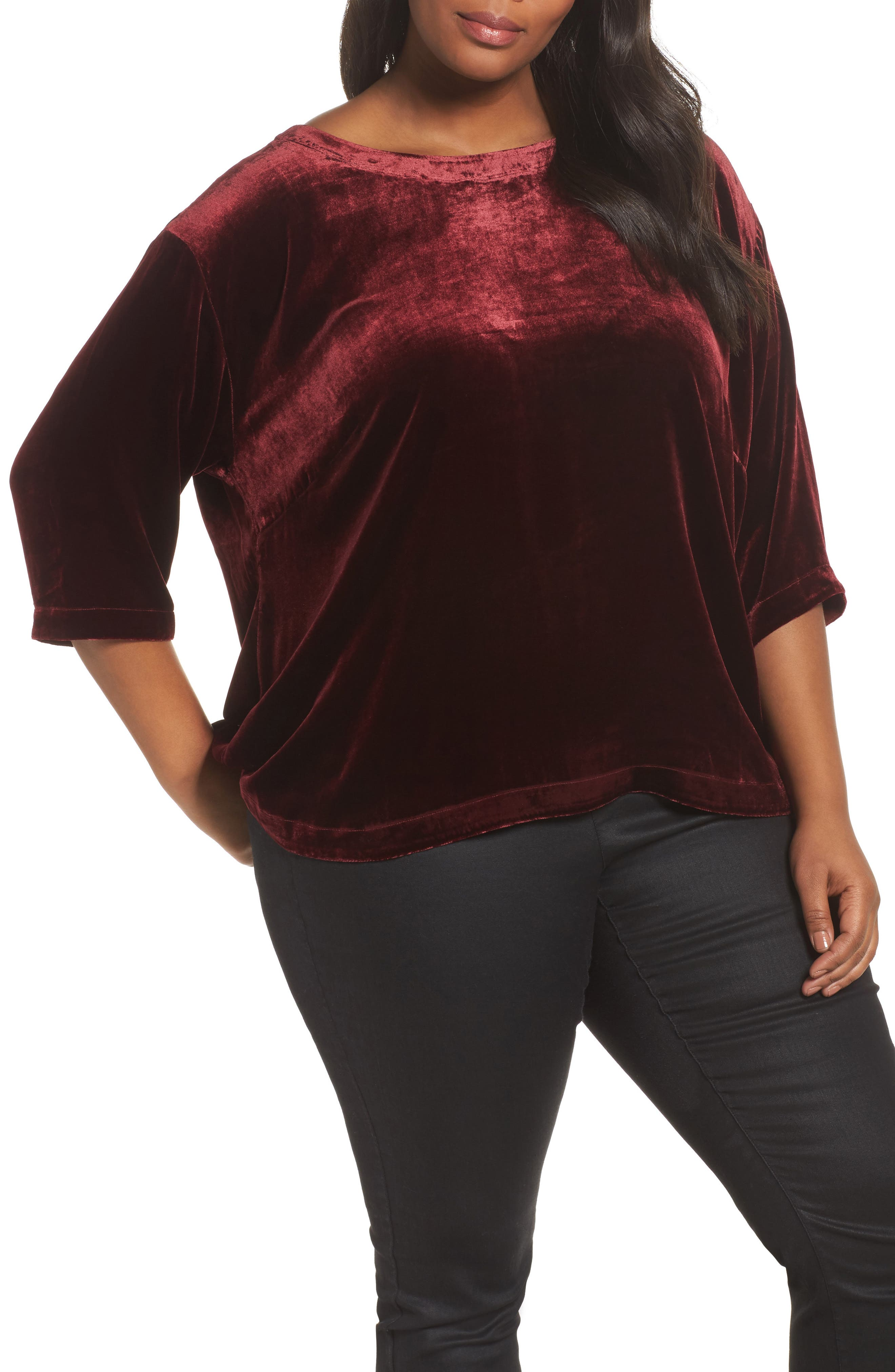 Boxy Velvet Top,                         Main,                         color, Red