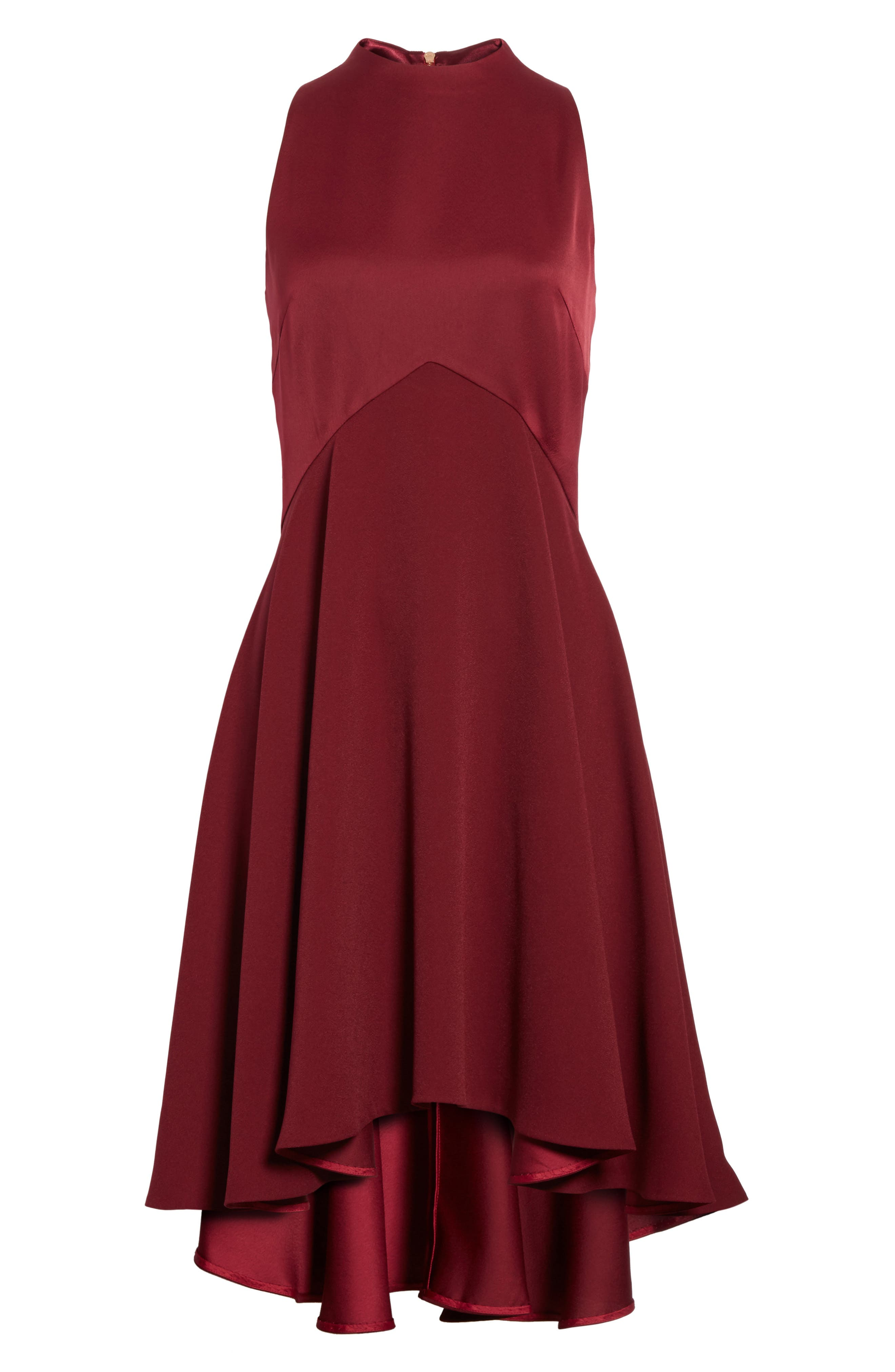 Mock Neck Fit & Flare Dress,                             Alternate thumbnail 6, color,                             Maroon