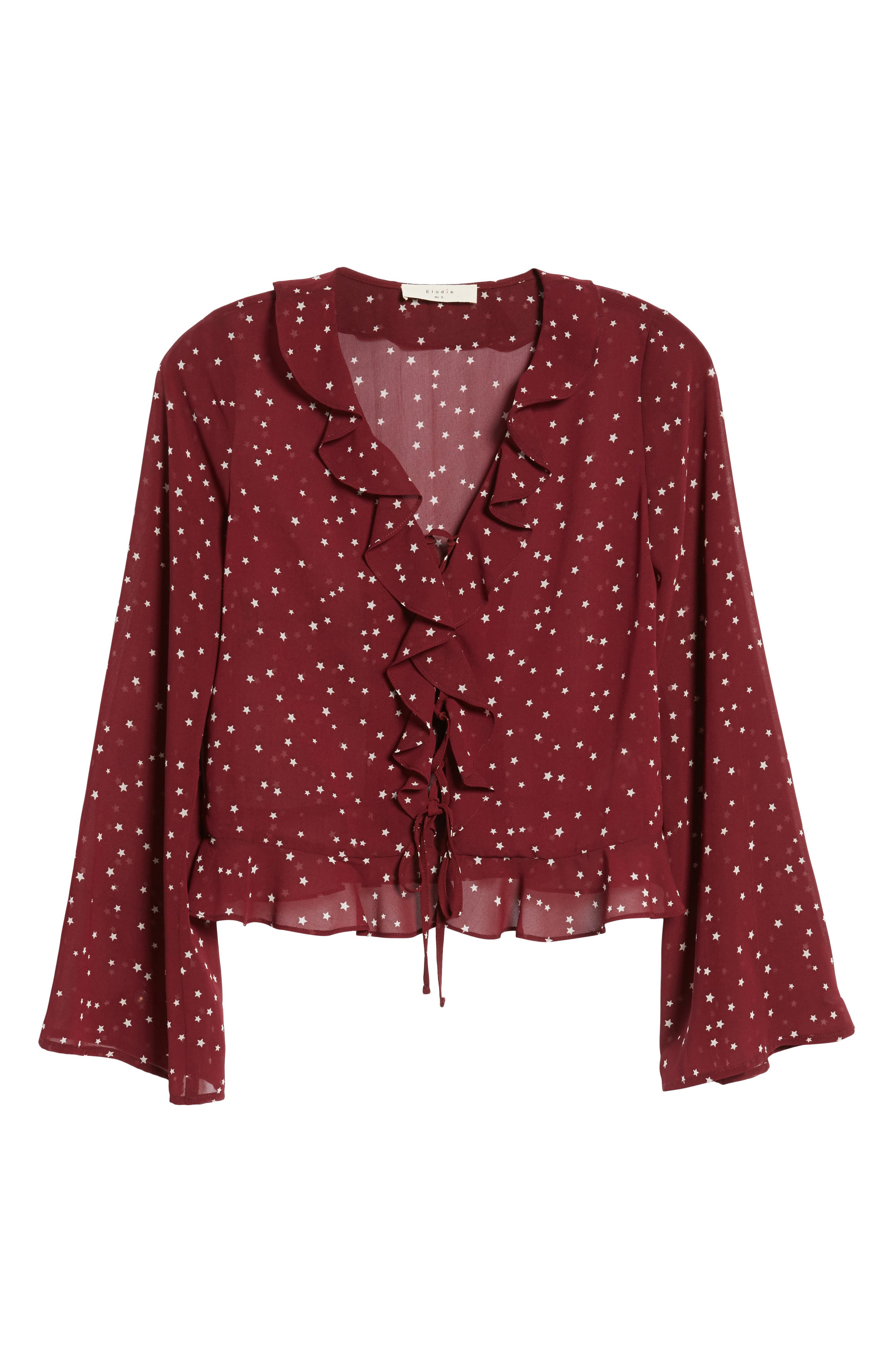 Star Print Ruffle Lace-Up Top,                             Alternate thumbnail 6, color,                             Burgundy Star