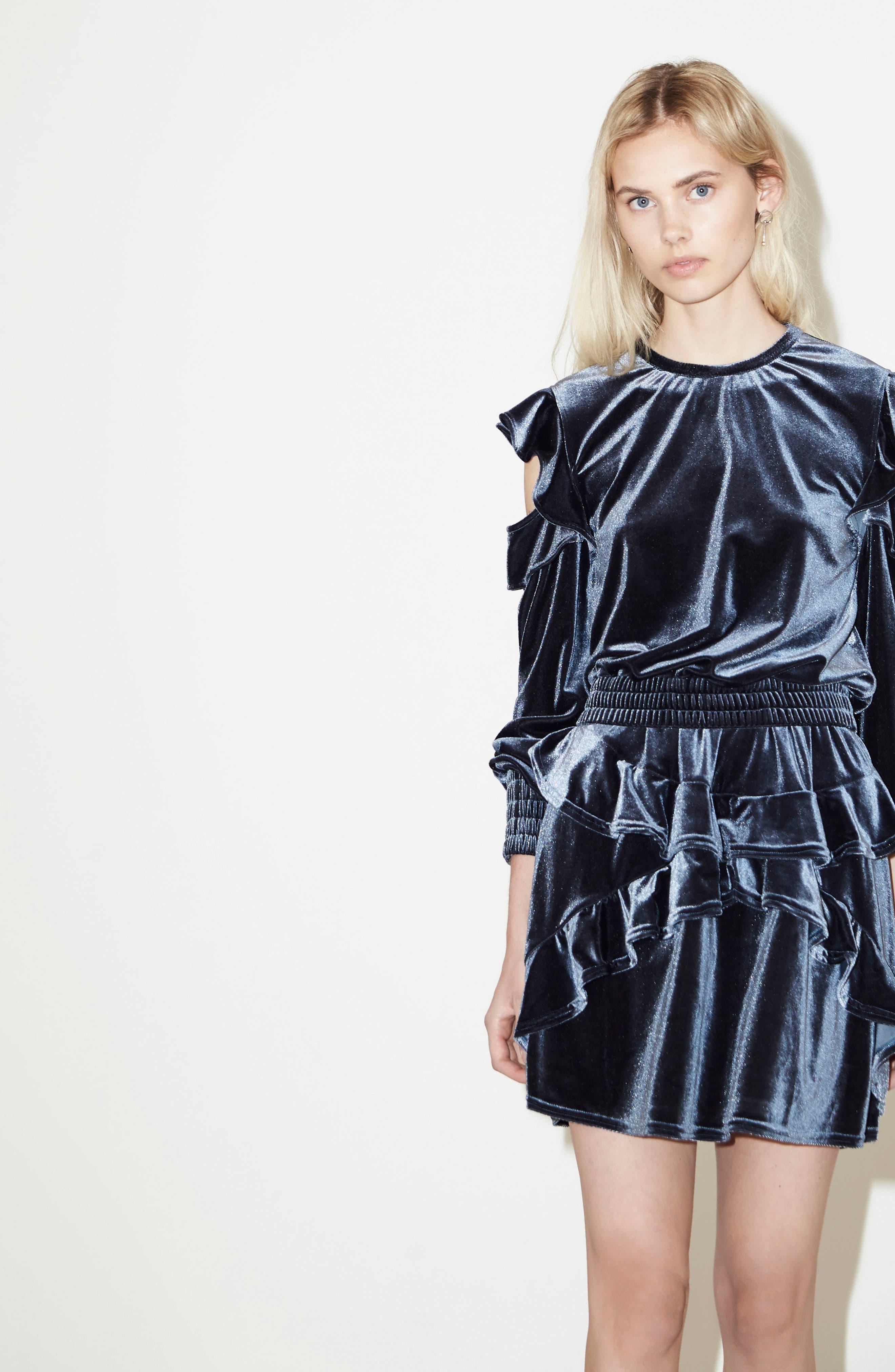 Exhibition Ruffle Velvet Skirt,                             Alternate thumbnail 2, color,                             Slate