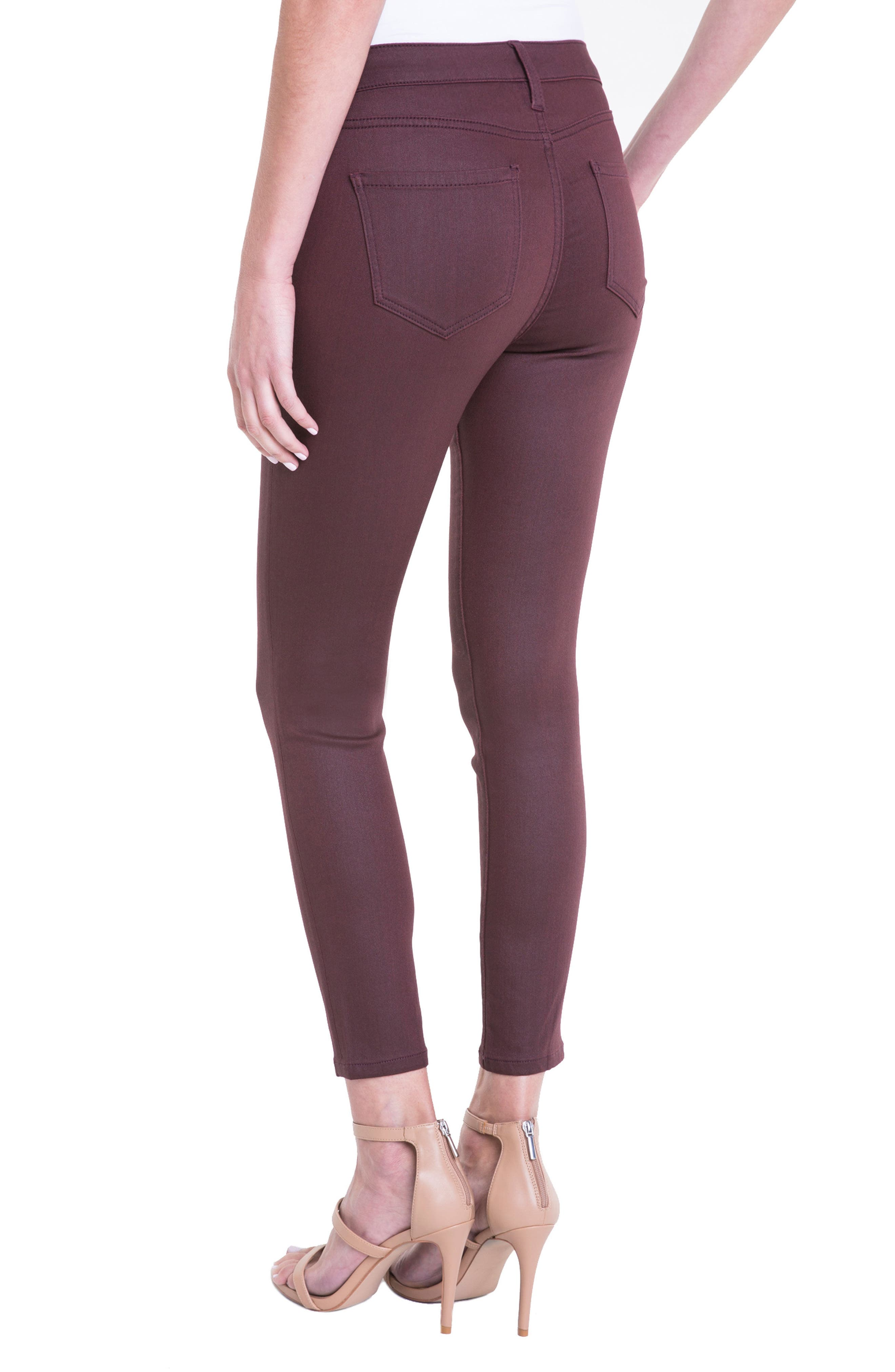 Bridget Coated High Waist Skinny Jeans,                             Alternate thumbnail 2, color,                             Malbec