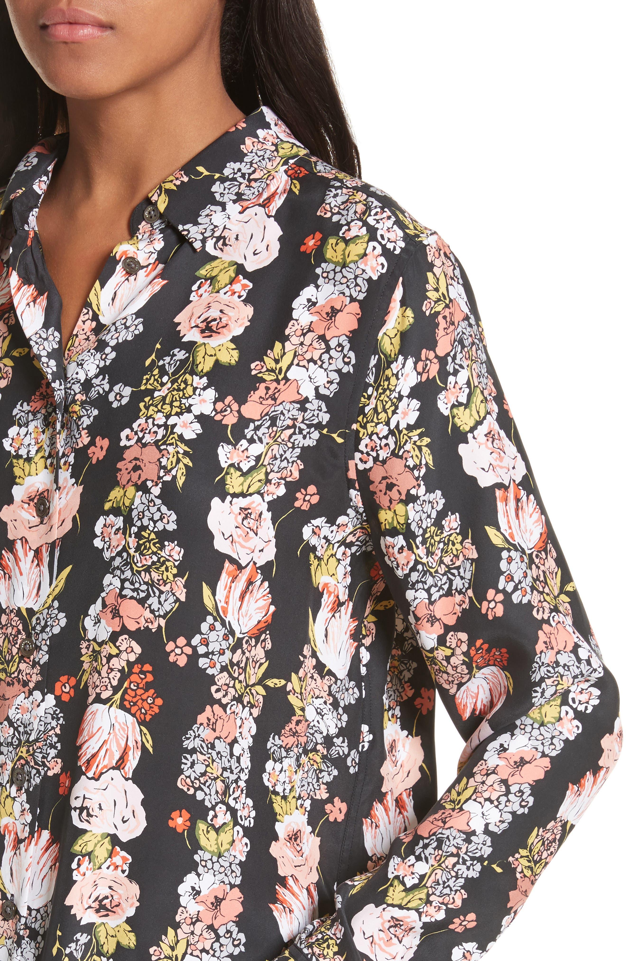 Essential Floral Silk Shirt,                             Alternate thumbnail 4, color,                             True Black Multi