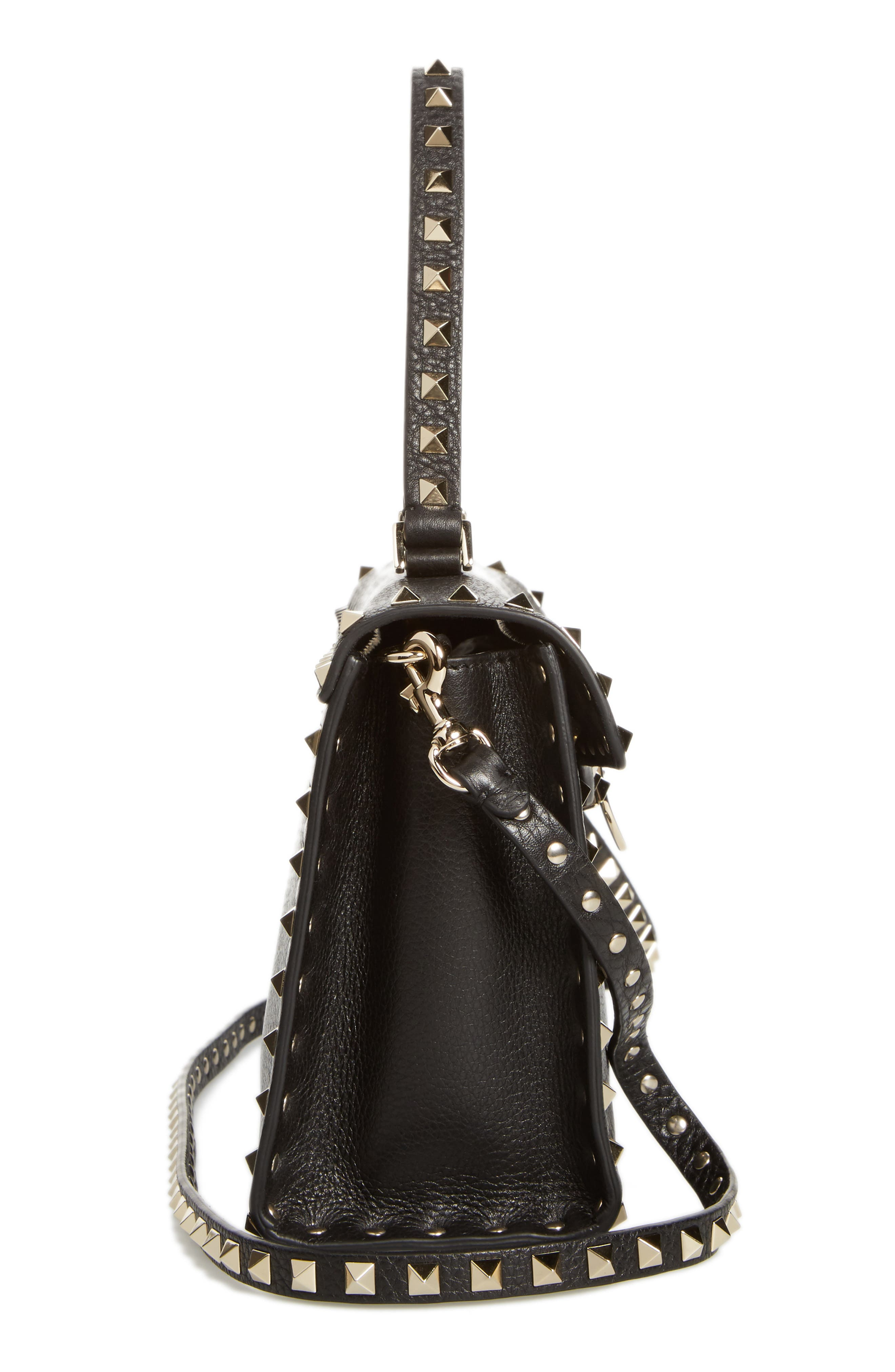 Small Rockstud Leather Single Handle Shoulder Bag,                             Alternate thumbnail 5, color,                             Black