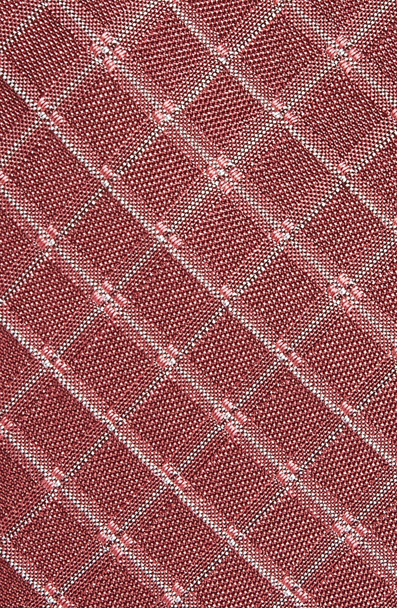 Plaid Silk Skinny Tie,                             Alternate thumbnail 2, color,                             Red