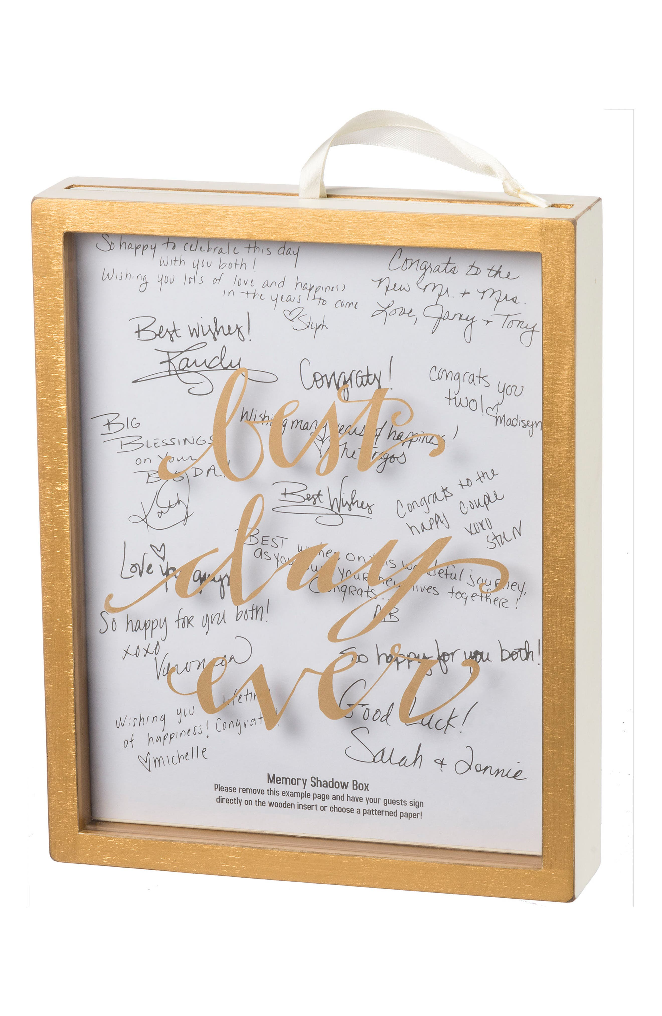Shadow Box Guest Book,                             Main thumbnail 1, color,                             Gold
